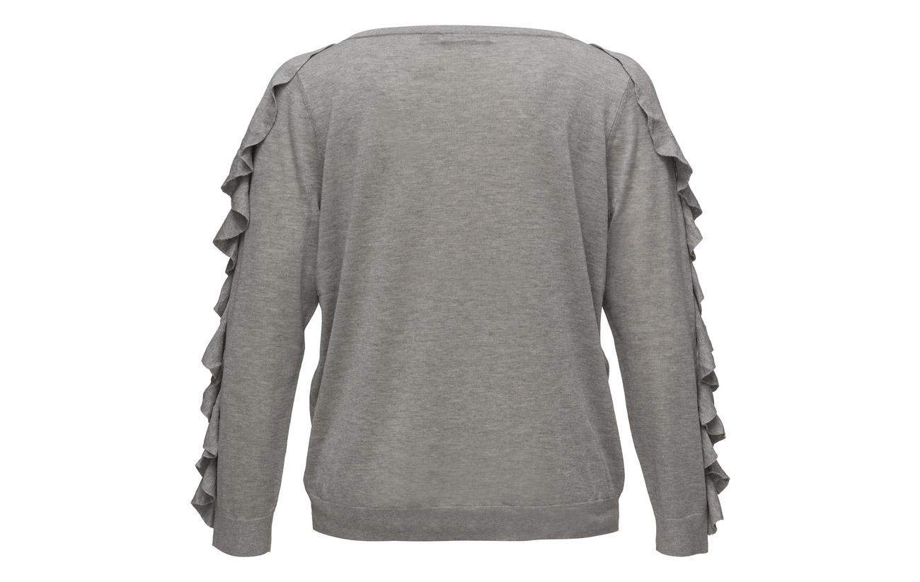 Sweater 25 Ralph blend Silk Grey Heathe Lauren Stone 33 Soie Modale 42 Polyester Ruffled g6RqFwR1