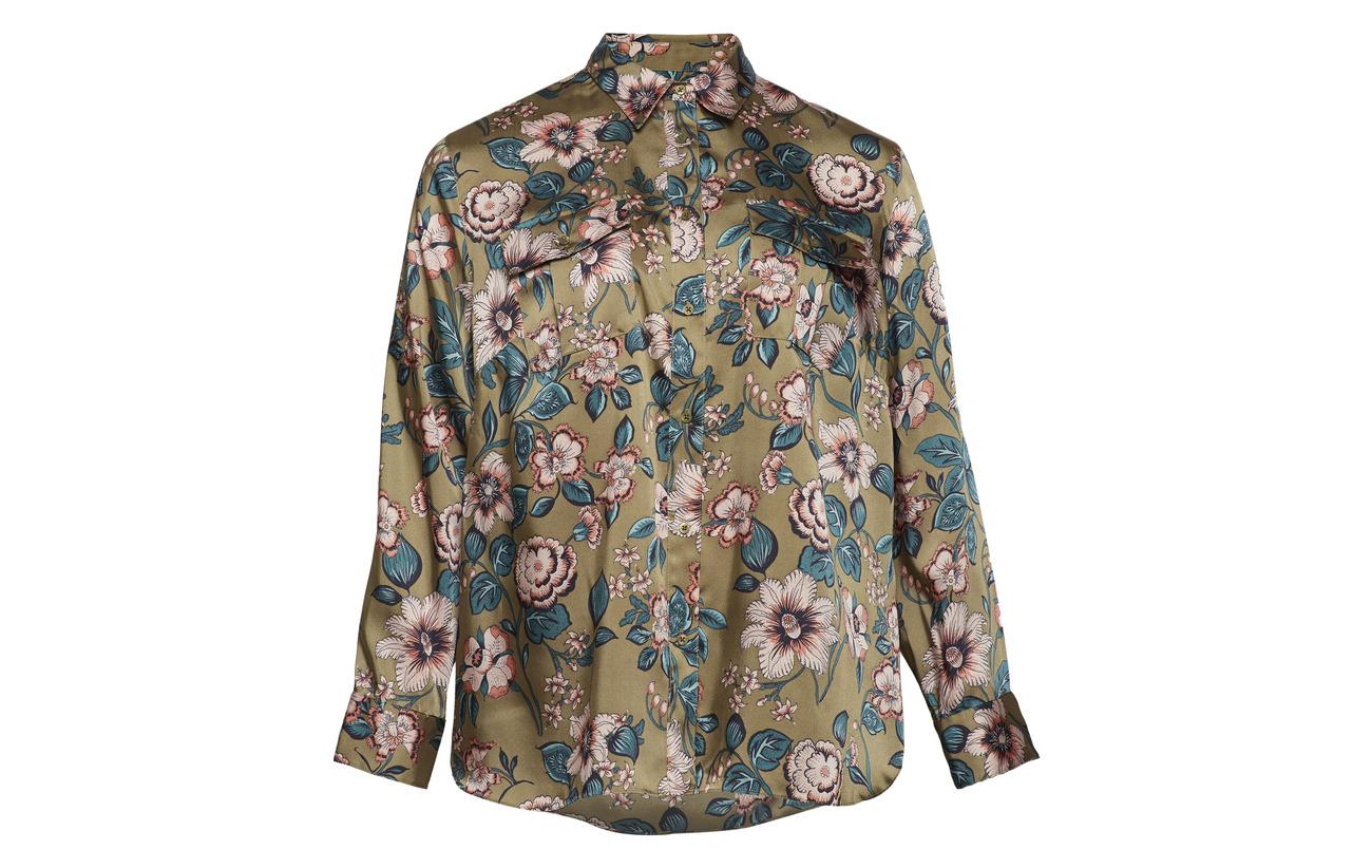 100 Button Ralph Shirt Multi Floral Lauren down Olive Polyester print UTwqxAp7