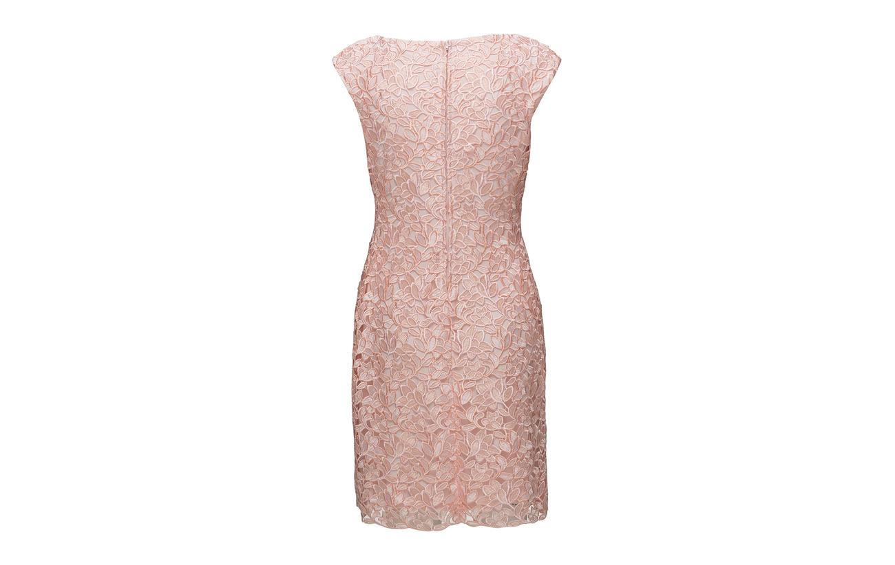 Cap Pink sleeve Lauren Multi Lace Ralph Polyester 100 Dress Pale w6q7EY
