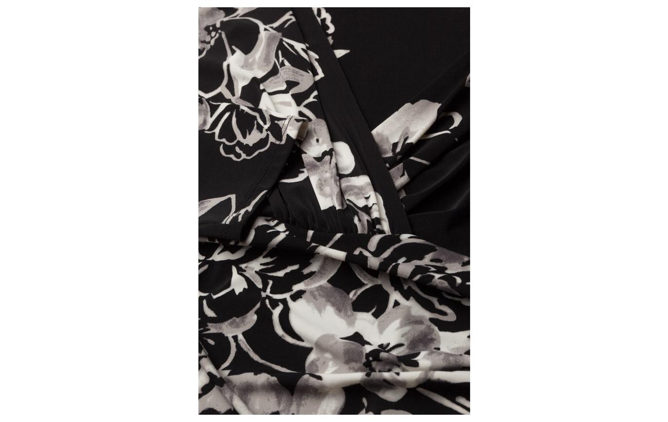 grey 100 5 Cuffs Coquille Ruched Elastane Jersey Floral Taffeta Polyester Dress Black Lauren Polyester Ralph multi 95 Extérieure Doublure gYqaTT