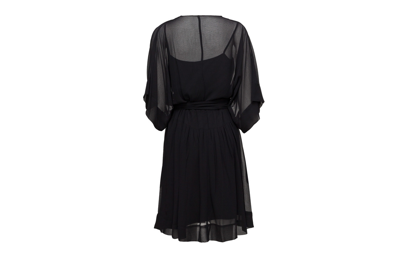 Polyester Surplice Black Dress 100 Georgette Ralph Lauren q6UfYY