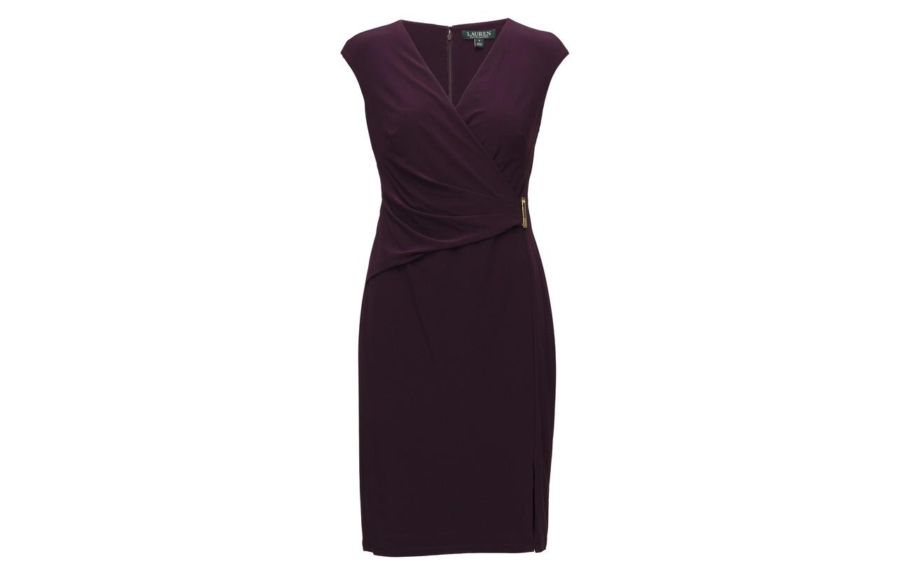 Black 90 Jersey 10 Dress Ralph Elastane sleeve Lauren Cap Polyester CxwOqUaa