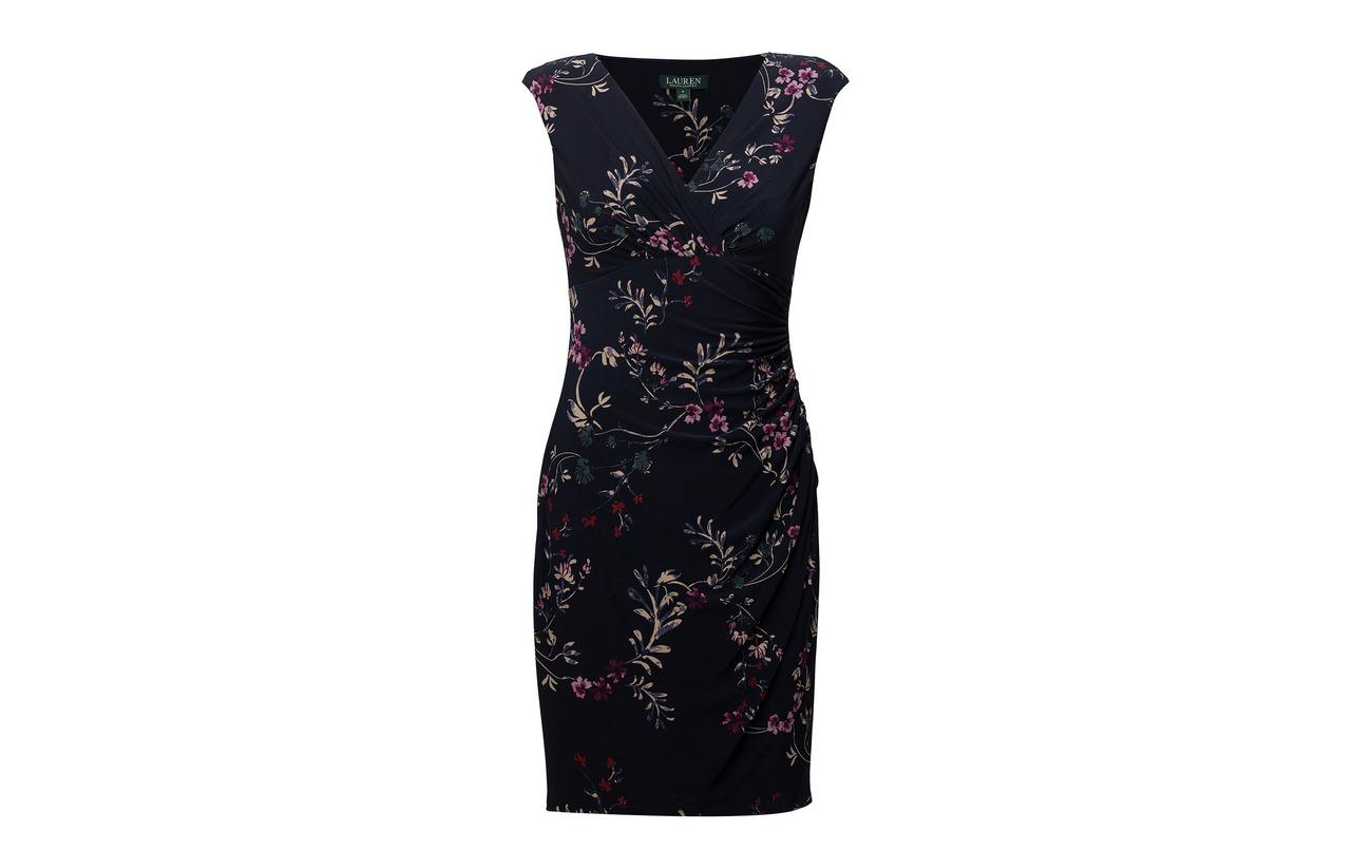 Elastane Floral Lauren 95 Coton Navy Dress Jersey 5 mu Ruched purple Ralph Lh qCOwC7S5