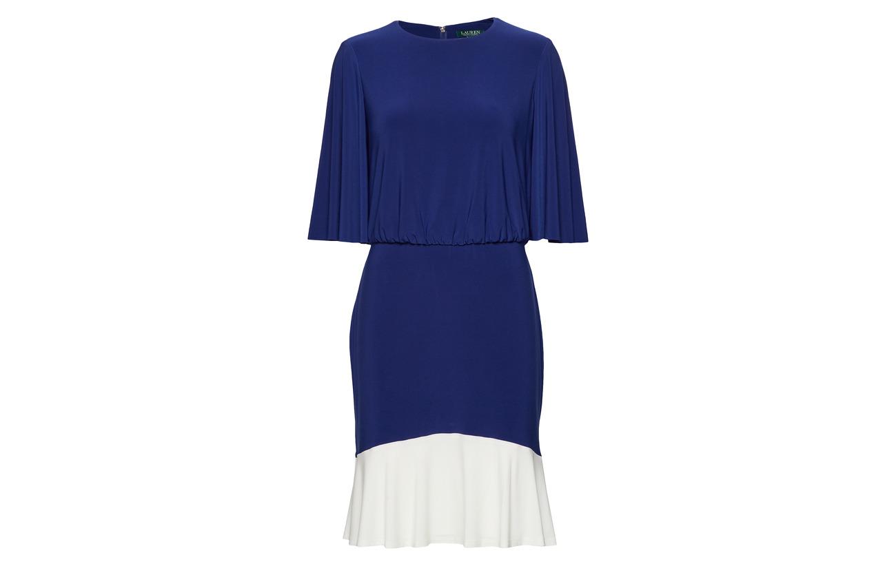 mascarpone 95 hem Dress Lauren Contrast Black Ralph 5 Polyester Elastane Jersey 1wnYnaq60