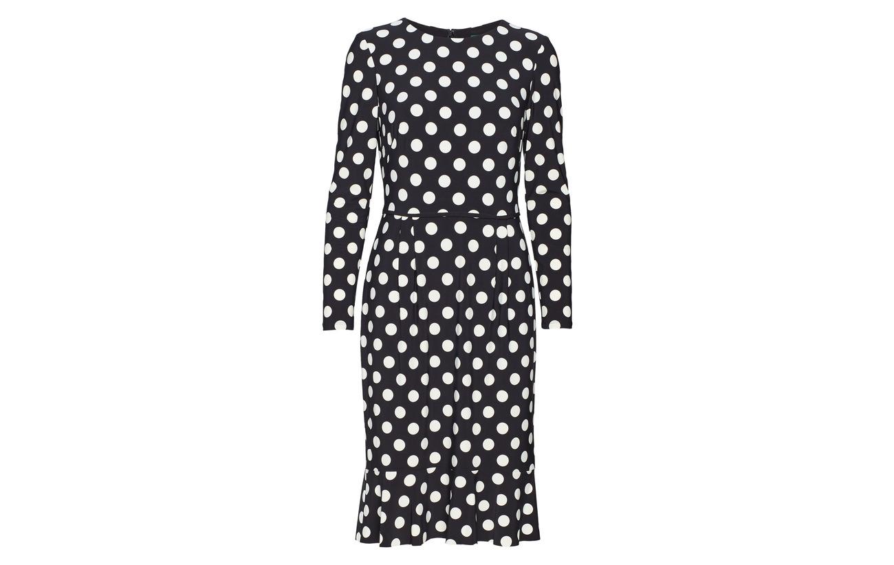 Lauren Ralph Elastane Black dot 95 Cr Dress 5 colonial Polka Polyester Jersey A4dAxrS