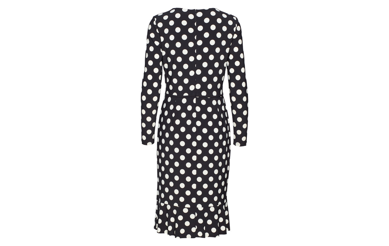 Black Polyester Ralph Cr Polka 95 colonial Dress Lauren Elastane 5 dot Jersey SgzTnxqqXw