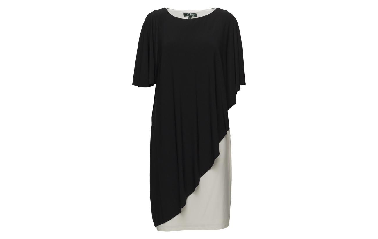 Two Jersey 5 Dress tone Black size Whit Elastane Overlay Ralph Plus Polyester 95 lauren Lauren q0YUtx