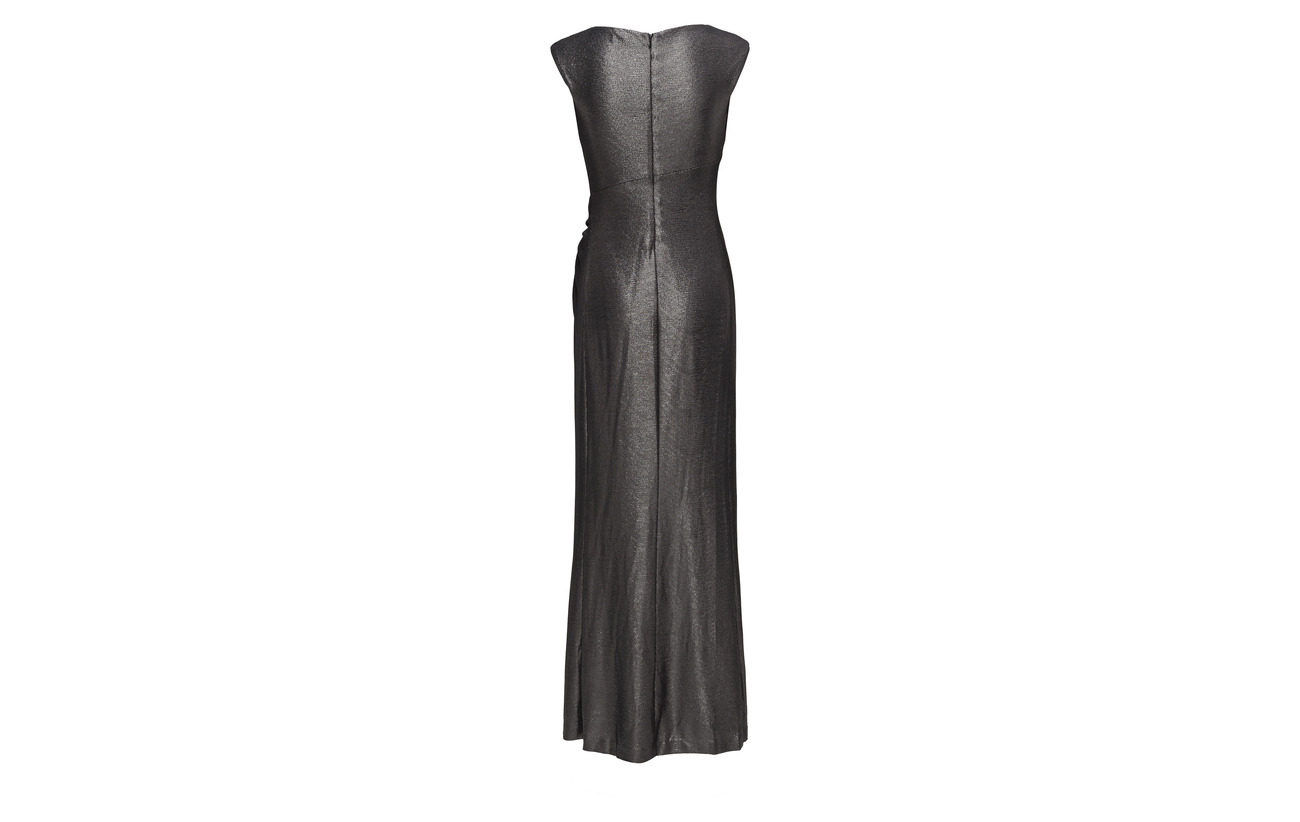 Lauren Cap Polyester gunmetal 95 Elastane Gown Metallic Ralph 5 Black sleeve qEECr