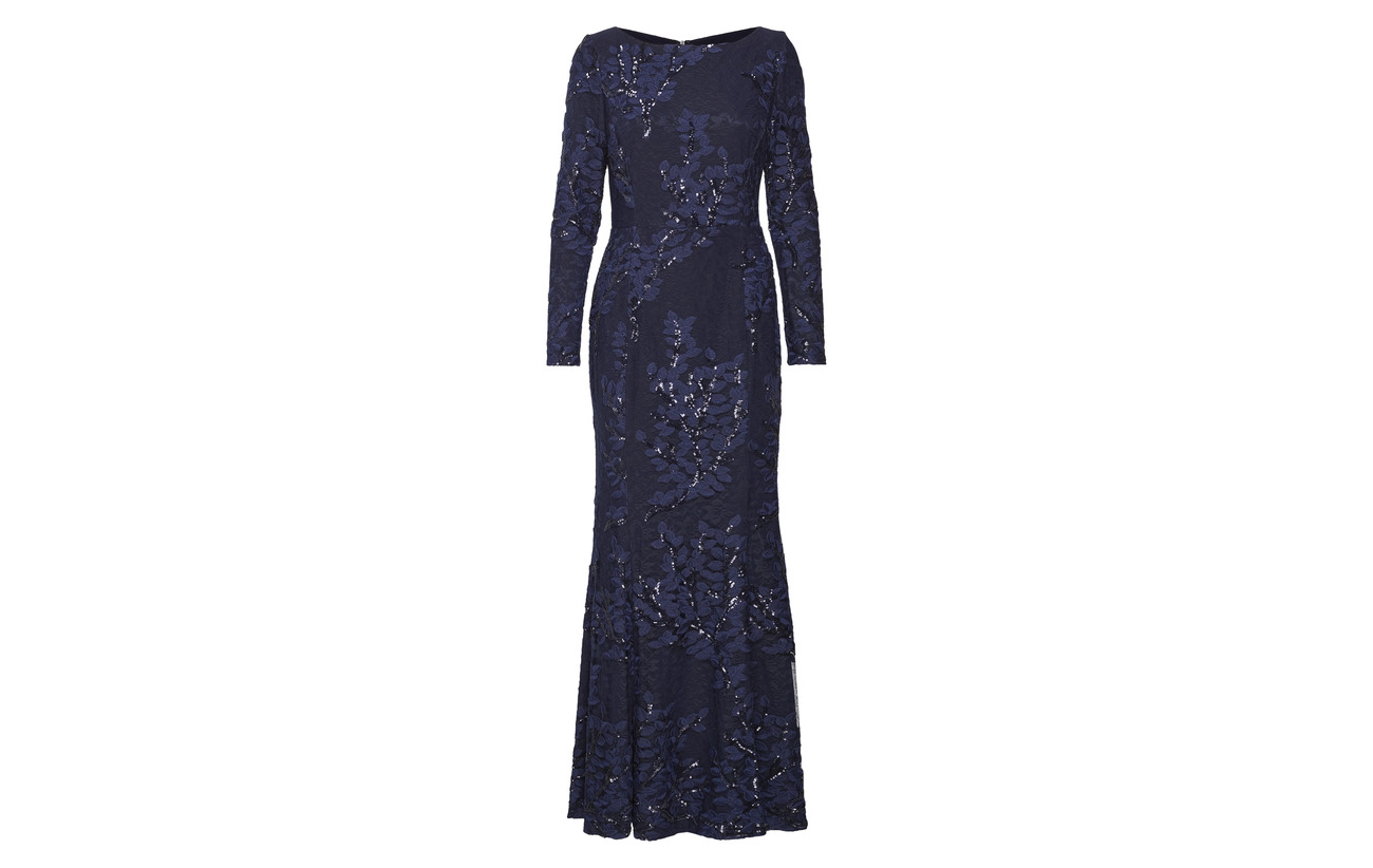 Coton Embroidered Gown Elastane Ralph navy Navy 6 Lauren 94 Shine Sequined Tulle qRzU5B