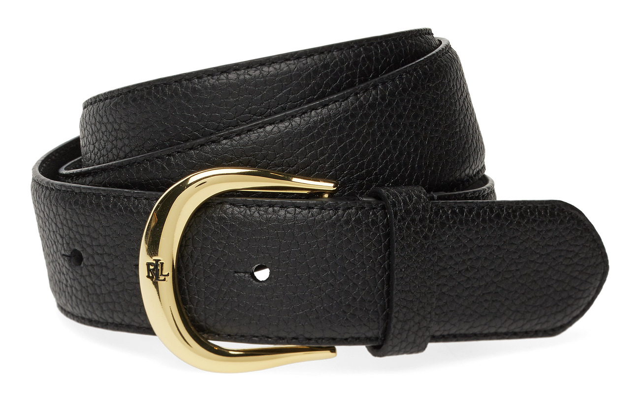 Lauren Ralph Lauren Pebbled Leather Belt - BLACK