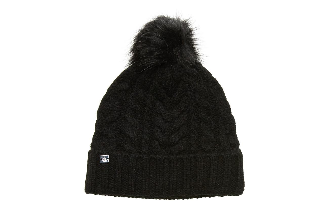 Lauren Ralph Lauren ACRYLIC BLEND-POM POM CABLE HAT - BLACK
