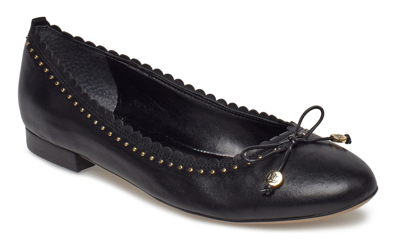 Lauren Ralph Lauren Glennie III Leather Flat - BLACK