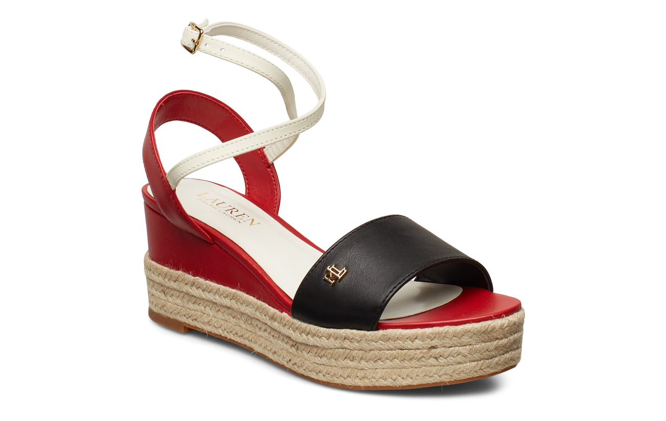 Lauren Ralph Lauren Delores Leather Sandal - BLACK/RL2000 RED/