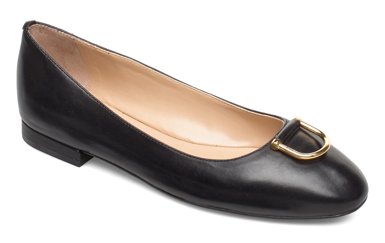 Lauren Ralph Lauren Galyn Leather Flat - BLACK