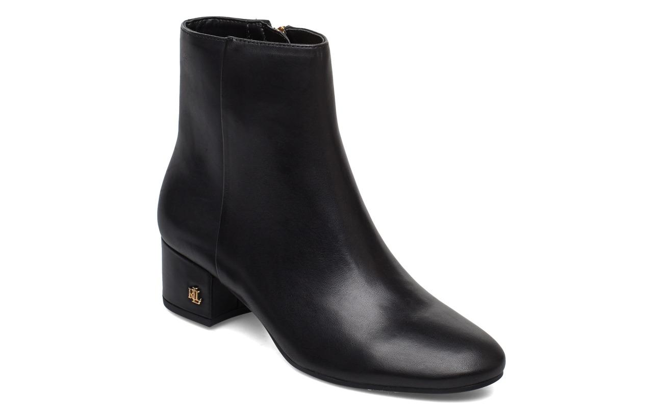 Lauren Ralph Lauren Welford Leather Bootie - BLACK
