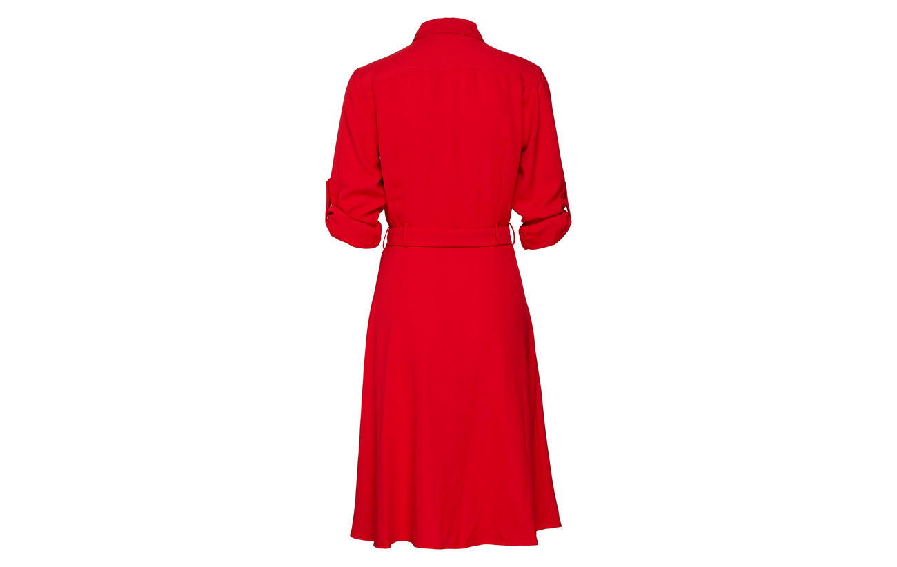 Dress Crimson Lauren 100 and Polyester Fit Ralph flare xTnnIaqUC