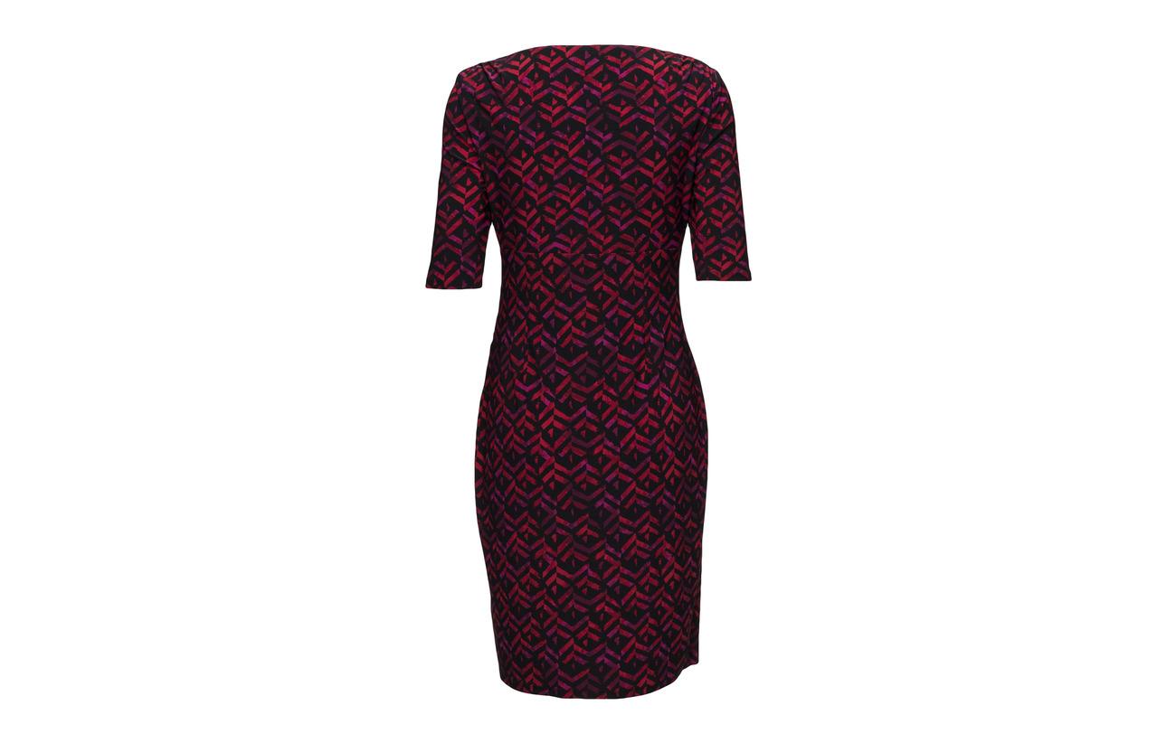 Polyester Dress Chelsie Sleeve Lauren Ralph Elastane elbow day 95 Black berry 5 mul U6Fnvqng