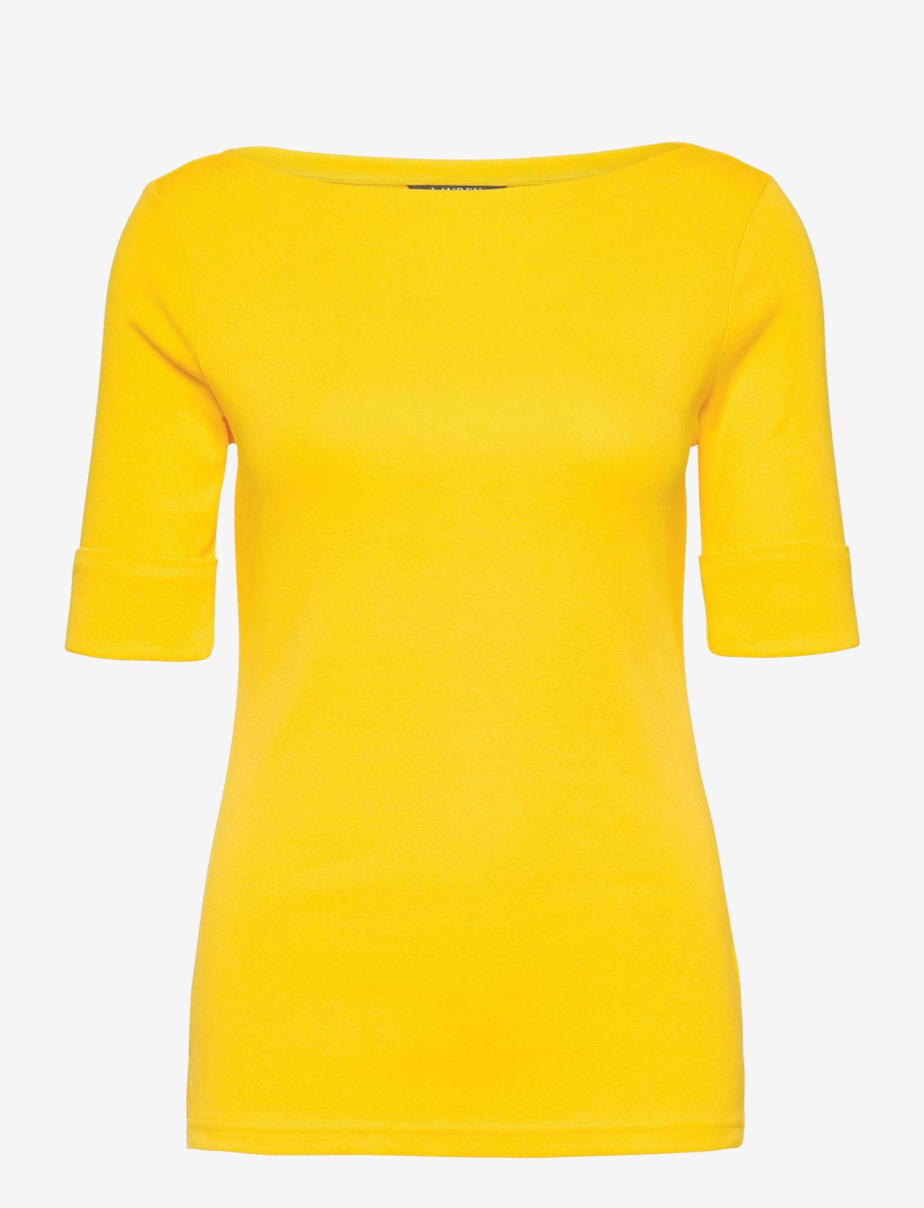 Lauren Ralph Lauren - Cotton-Blend Boatneck Top - t-shirts - athletic gold - 1