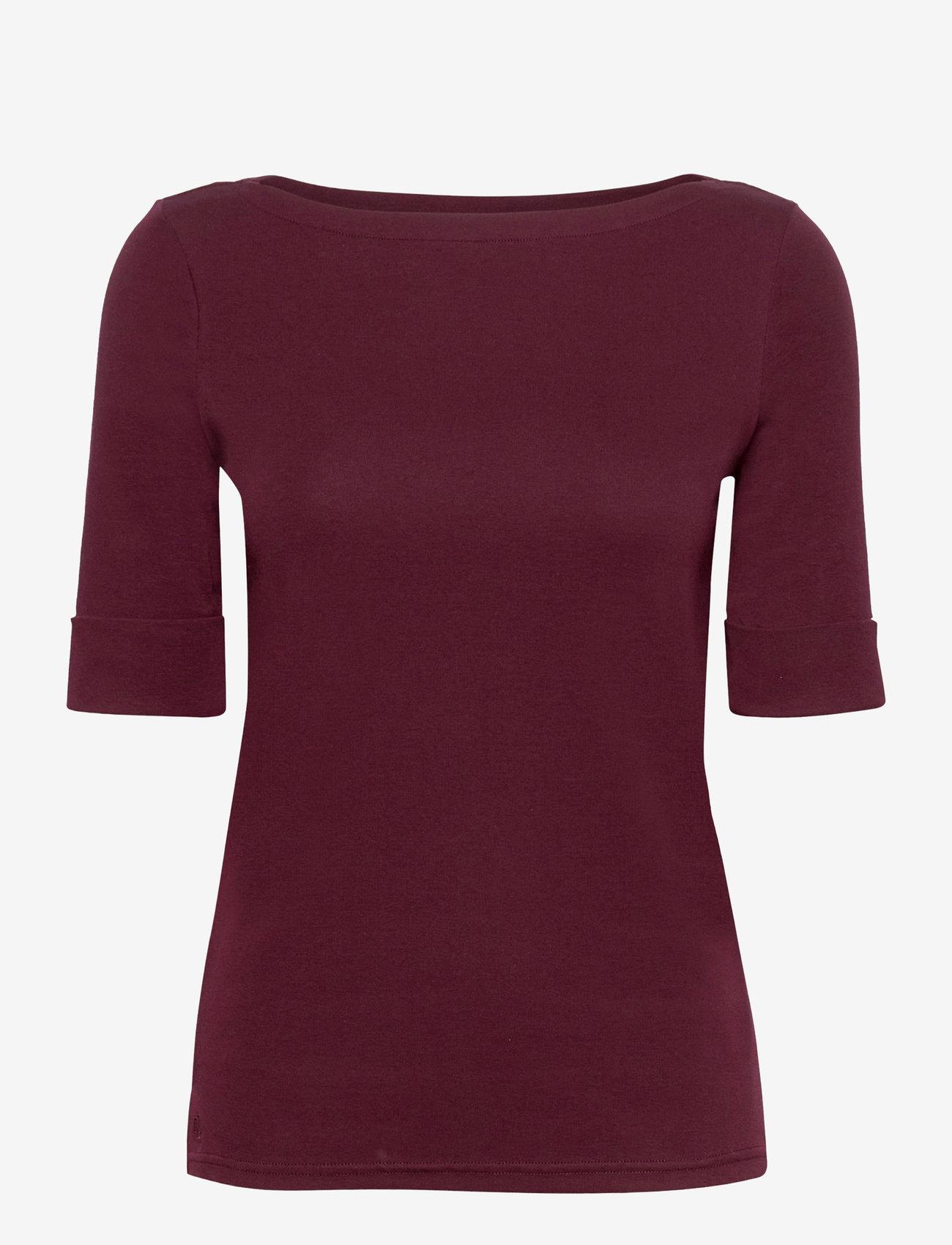 Lauren Ralph Lauren - Cotton Boatneck T-Shirt - t-shirts - pinot noir - 0