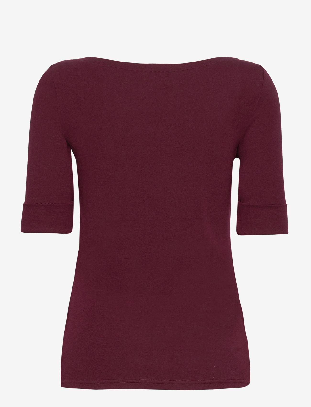 Lauren Ralph Lauren - Cotton Boatneck T-Shirt - t-shirts - pinot noir - 1