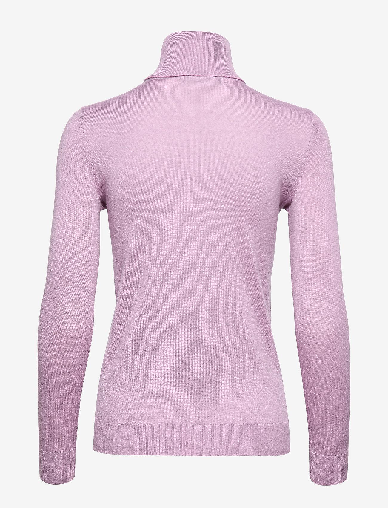 Lauren Ralph Lauren Ribbed Silk-Blend Turtleneck - Dzianina PINK HYACINTH - Kobiety Odzież.
