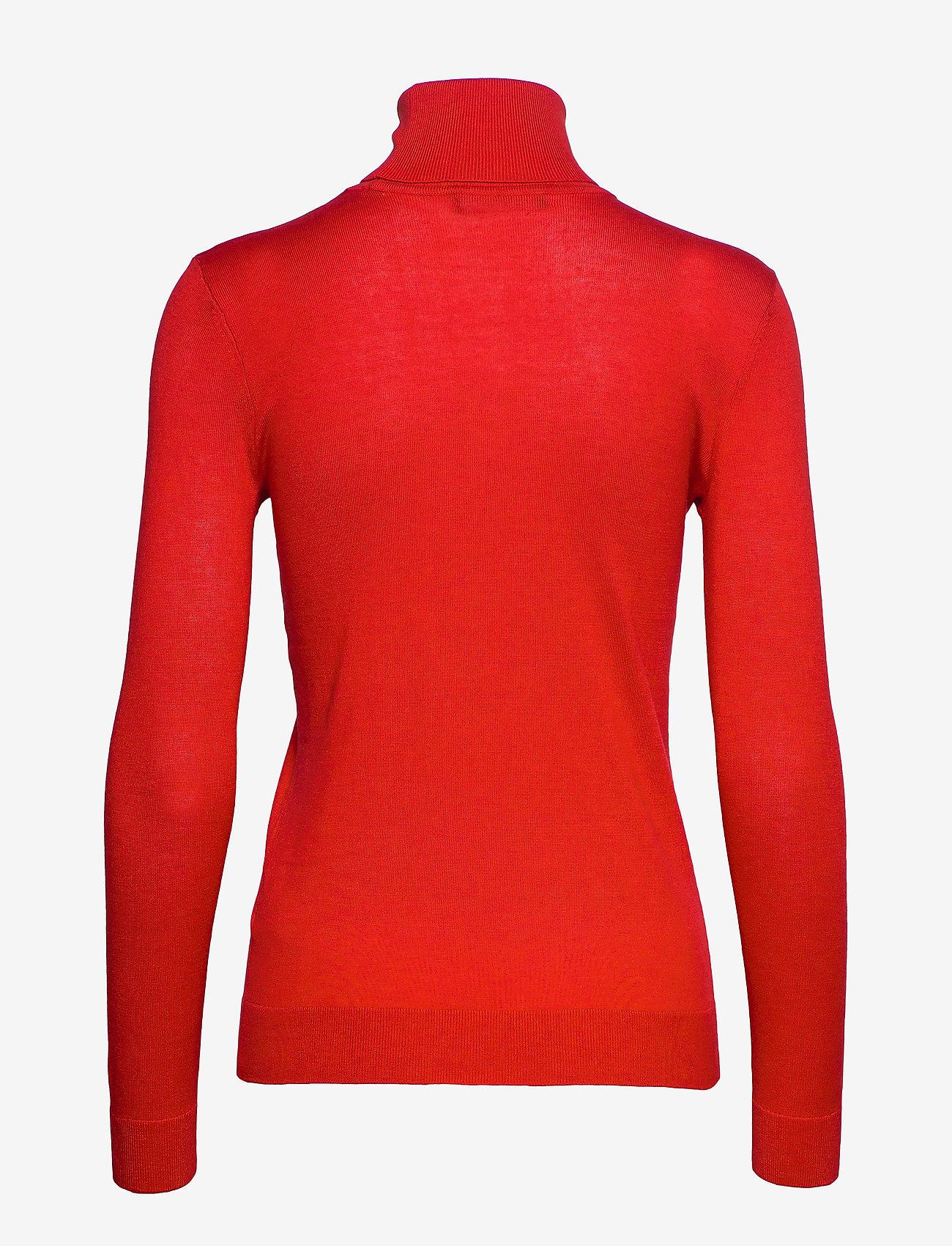 Lauren Ralph Lauren Ribbed Silk-Blend Turtleneck - Dzianina SPORTING ORANGE - Kobiety Odzież.