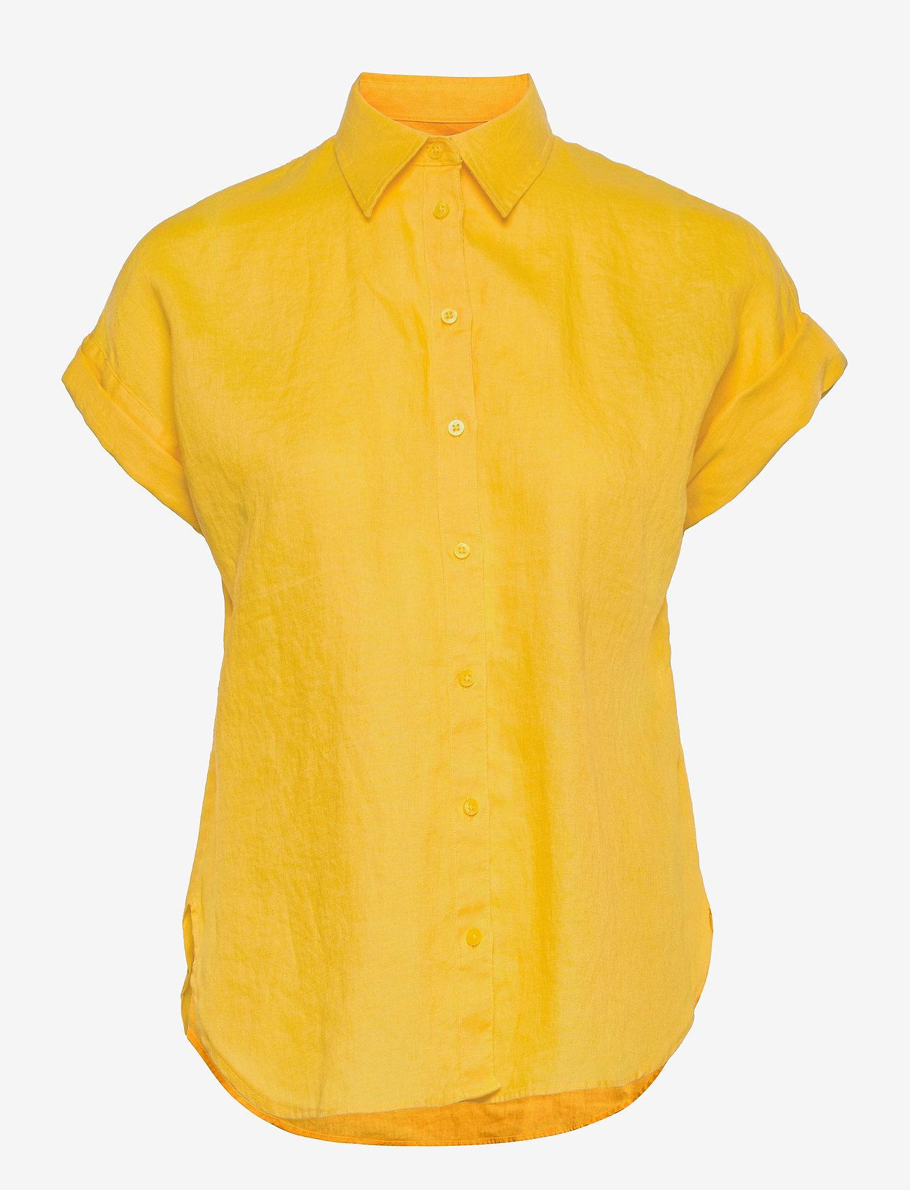 Lauren Ralph Lauren - Linen Short-Sleeve Shirt - kortærmede skjorter - beach yellow - 0