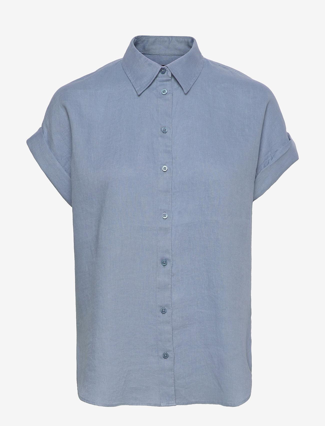 Lauren Ralph Lauren - Linen Short-Sleeve Shirt - kortærmede skjorter - dust blue - 0