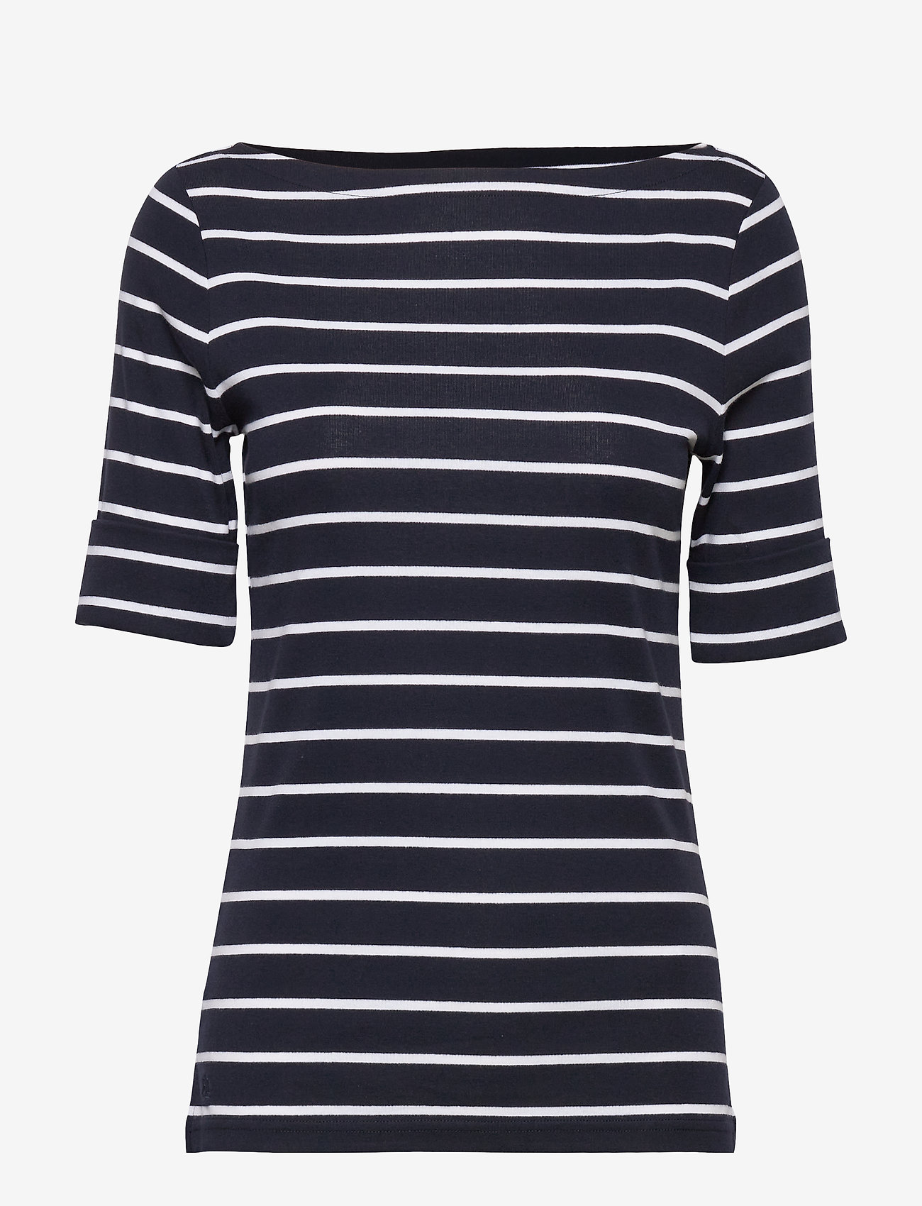 Lauren Ralph Lauren - RFND STRTCH 1X1 RIB-ELB SLV BT NK T - t-shirts - lauren navy/white - 0