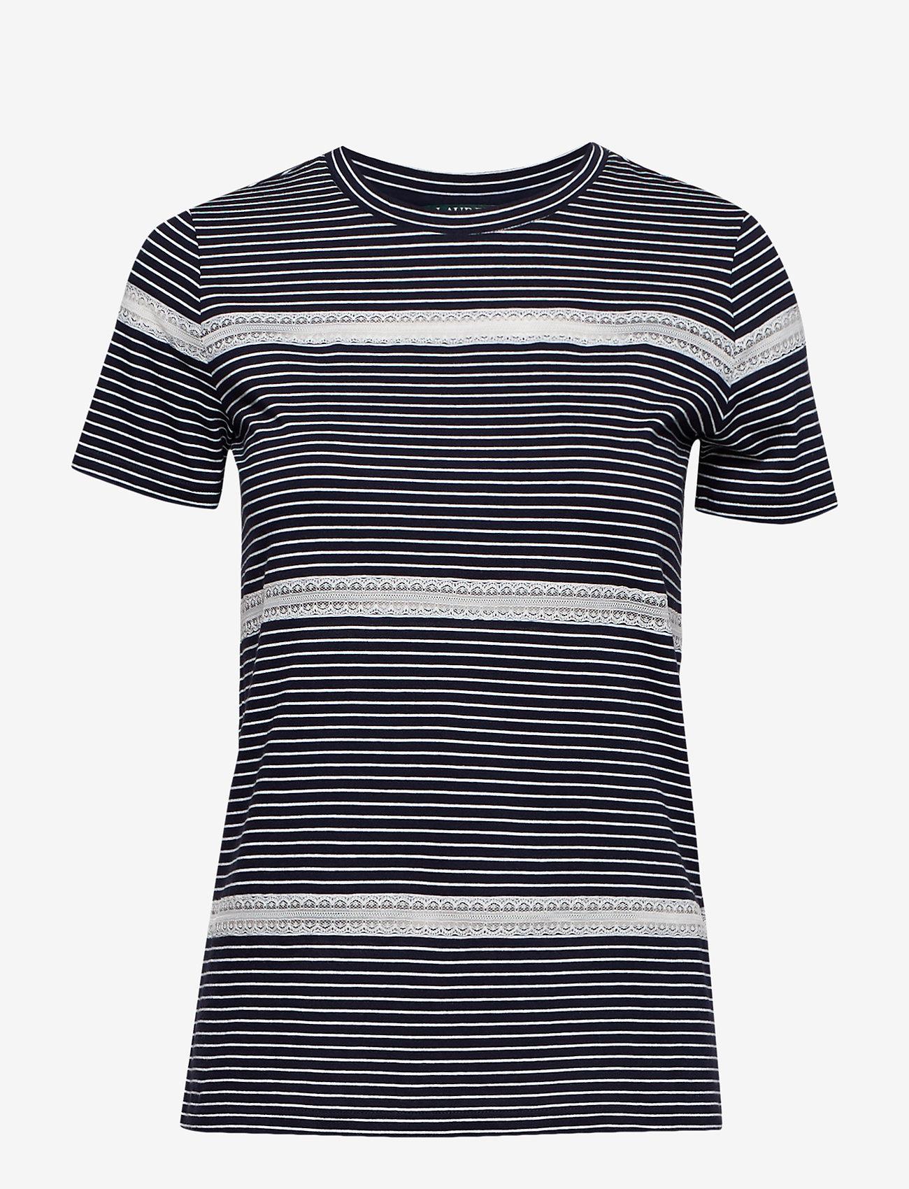 Lauren Ralph Lauren - Lace-Trim Jersey Tee - raidalliset t-paidat - lauren navy/silk