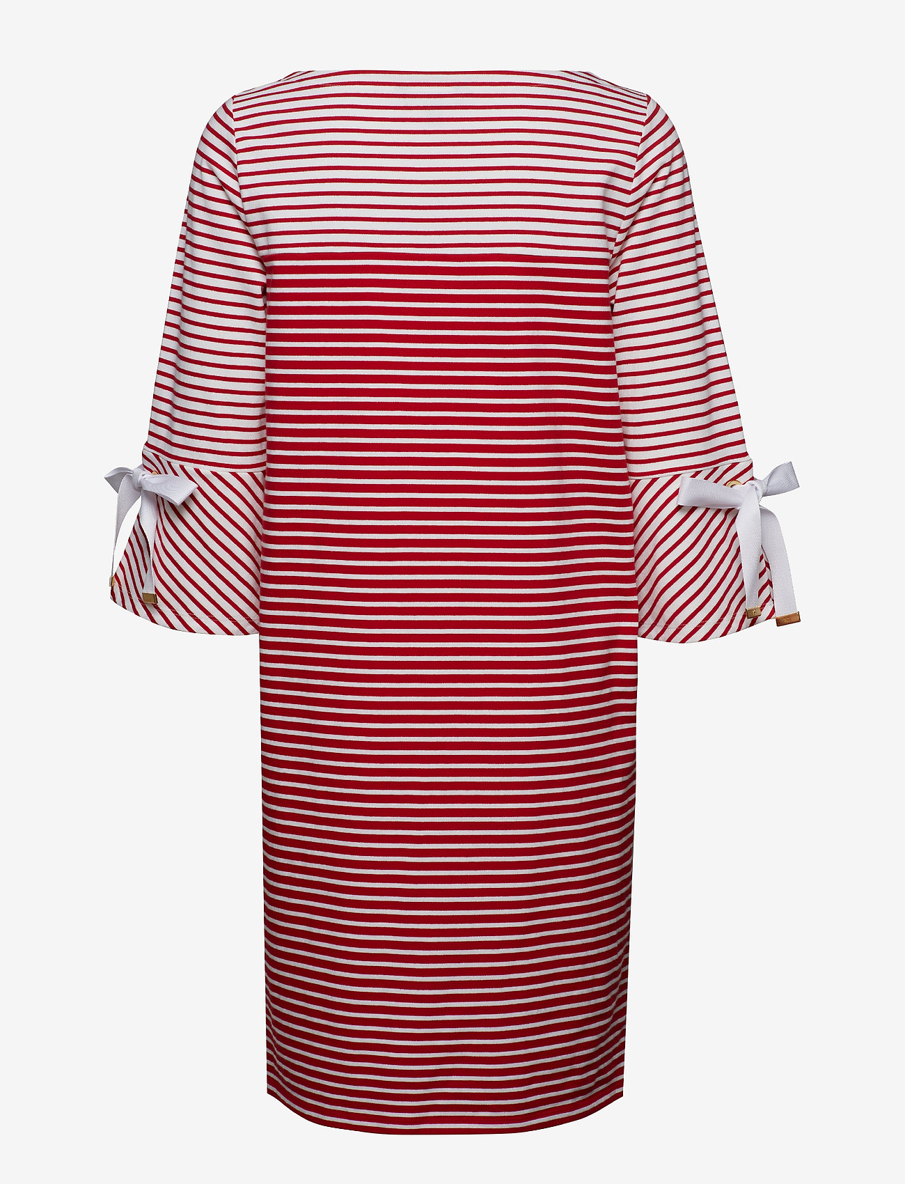 Lauren Ralph Lauren - Striped Cotton Dress - midimekot - lipstick red mult