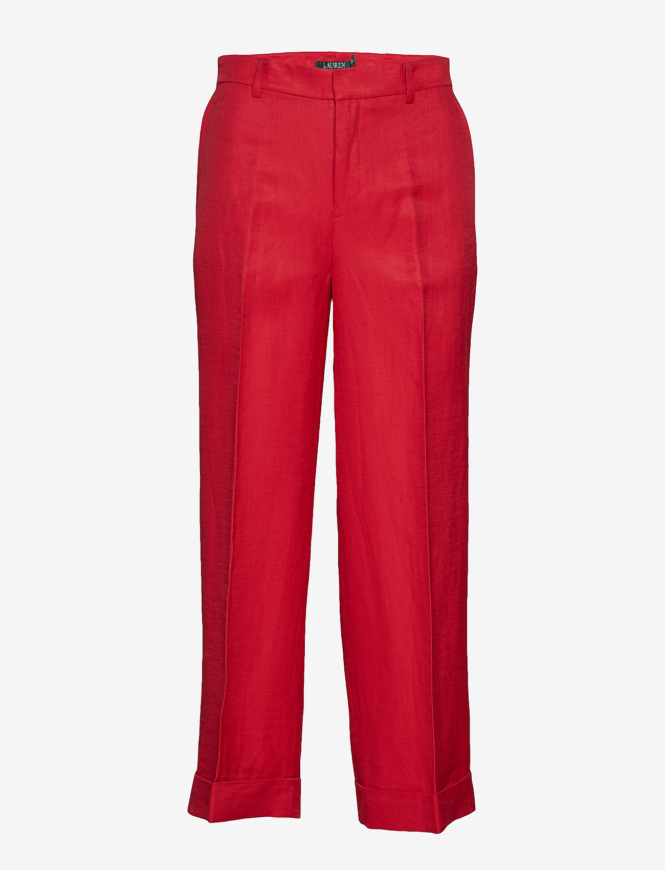 Linen-blend Wide-leg Pant (Lipstick Red