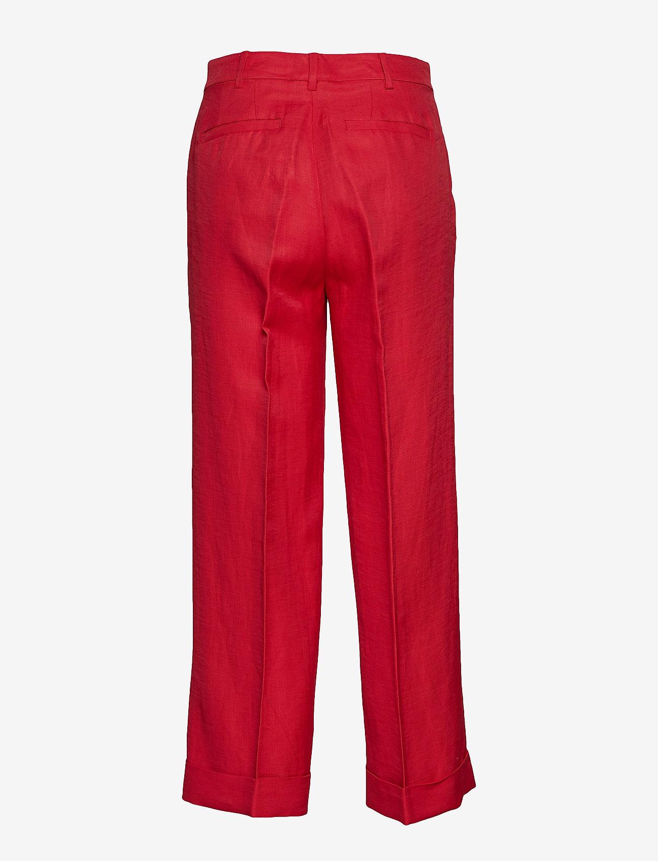 Lauren Ralph Lauren - Linen-Blend Wide-Leg Pant - leveälahkeiset housut - lipstick red