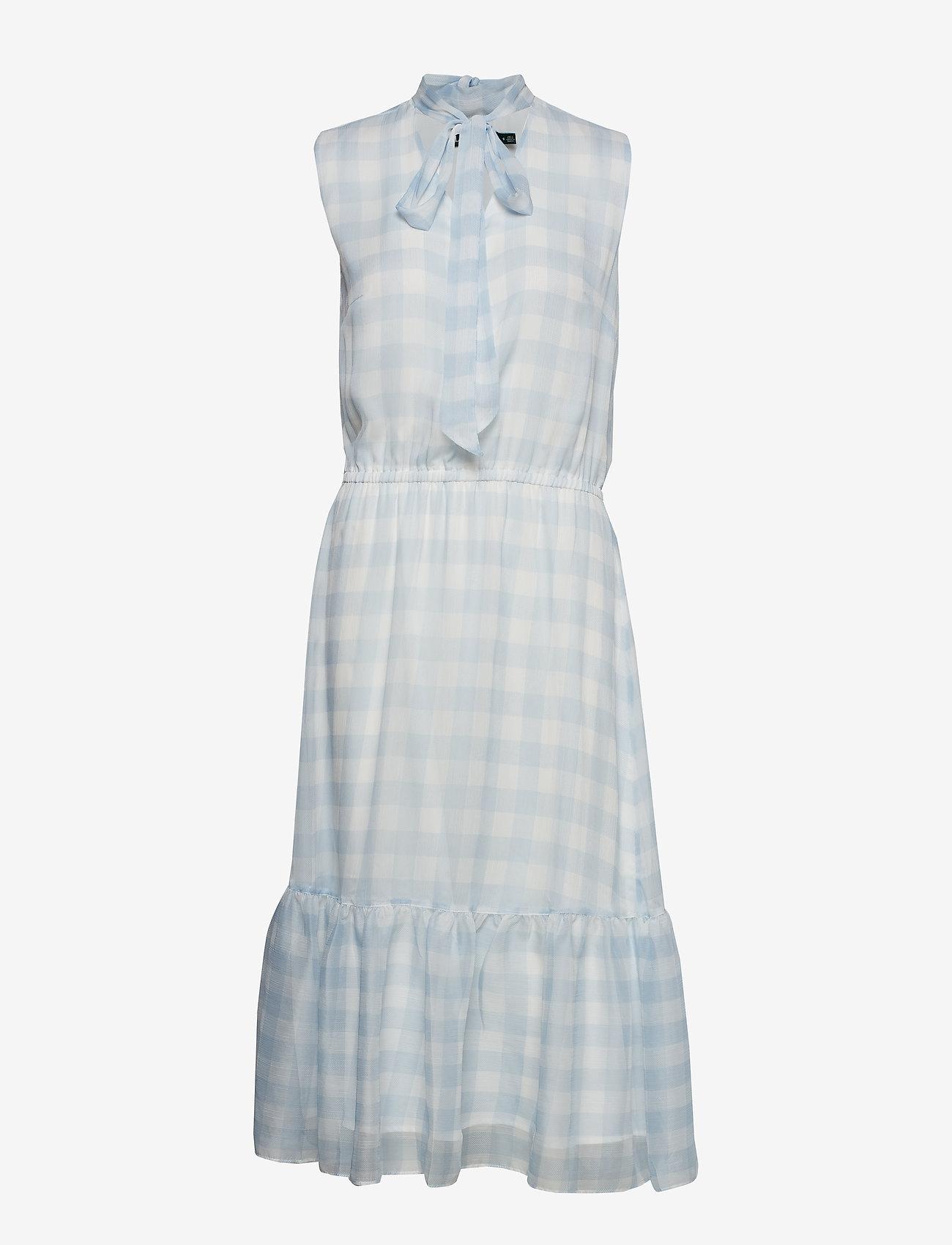 Lauren Ralph Lauren - Gingham Tie-Neck Dress - midimekot - silk white/englis