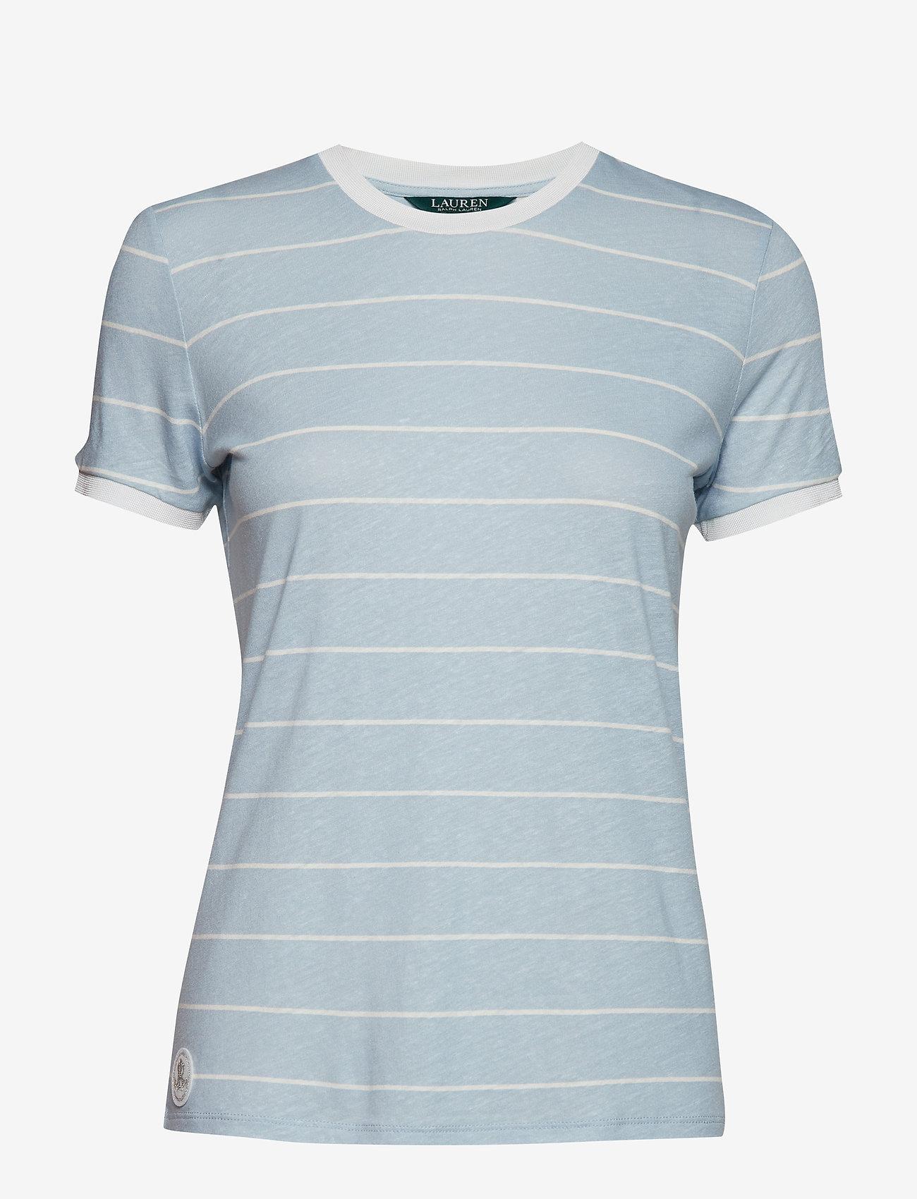 Lauren Ralph Lauren - Striped Linen-Blend Tee - raidalliset t-paidat - english blue/masc