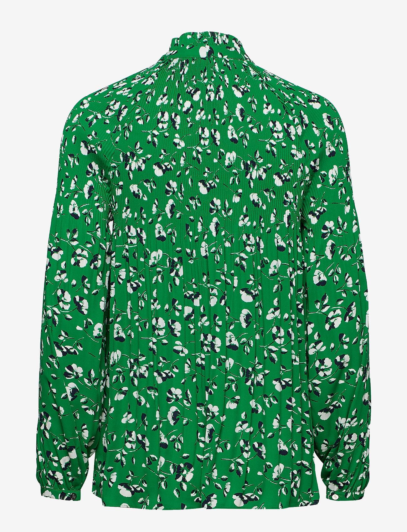Lauren Ralph Lauren - Georgette Tie-Neck Top - pitkähihaiset puserot - cambridge green m
