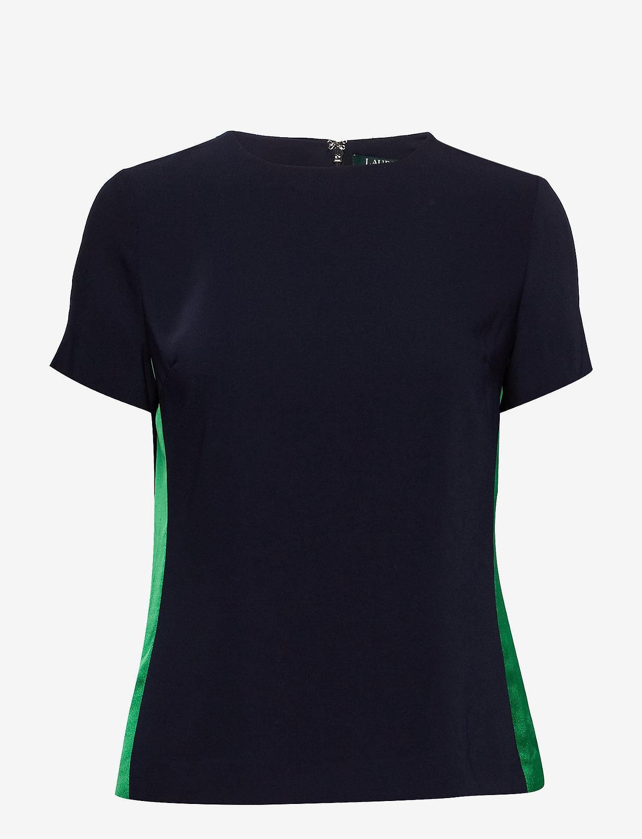 Lauren Ralph Lauren - Side-Stripe Crepe Top - basic t-shirts - lauren navy
