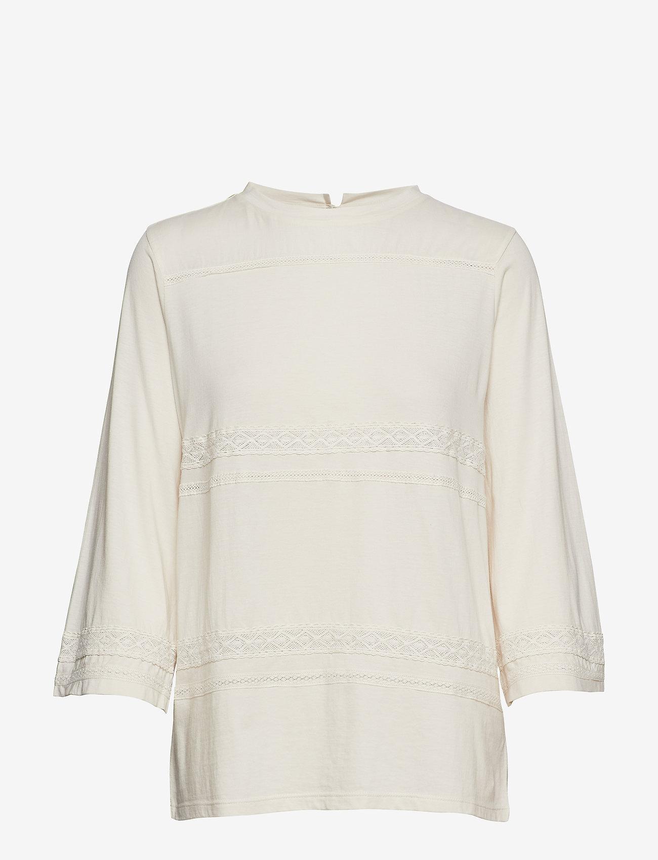 Lauren Ralph Lauren - SUBLIME CTN JERSEY-KNT - blouses à manches courtes - mascarpone cream - 0