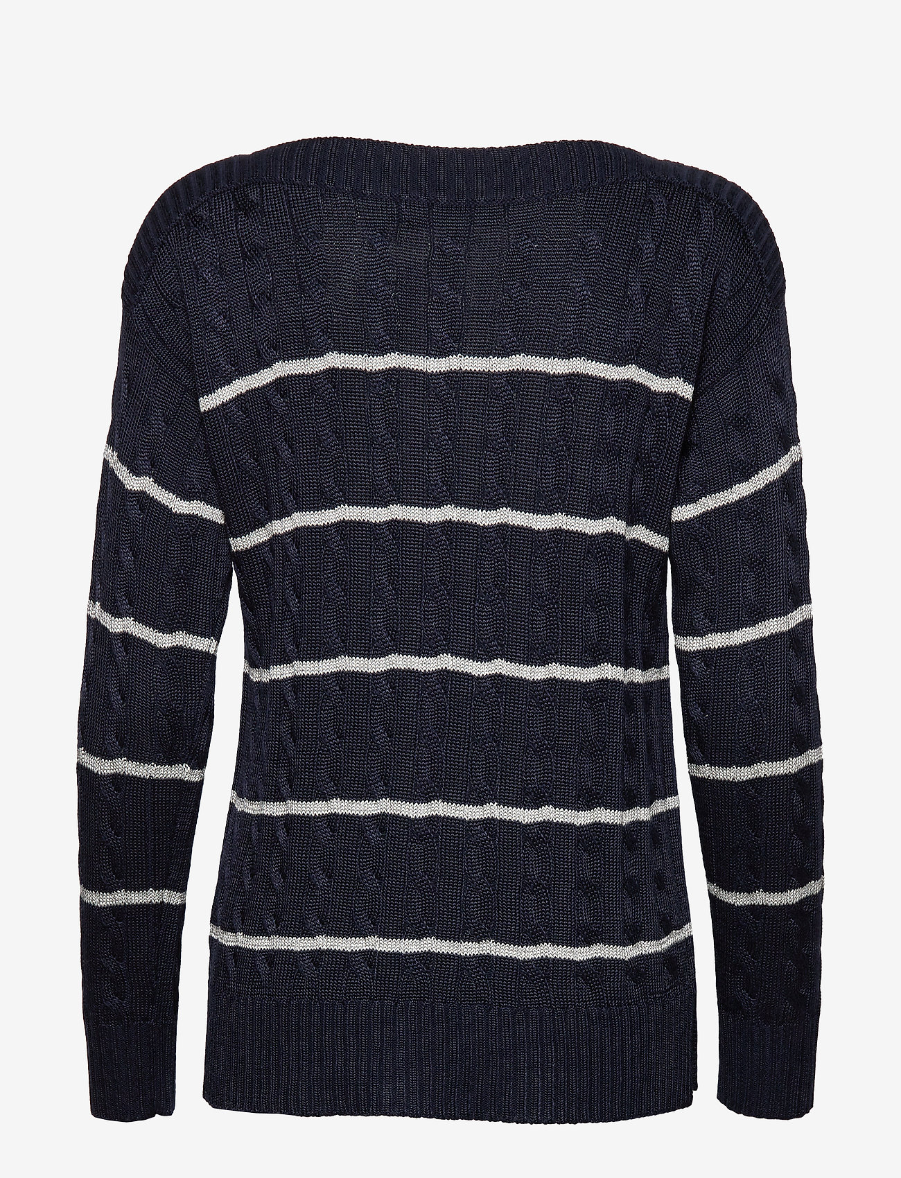 Lauren Ralph Lauren - Striped Cable Sweater - swetry - lauren navy/silve - 1