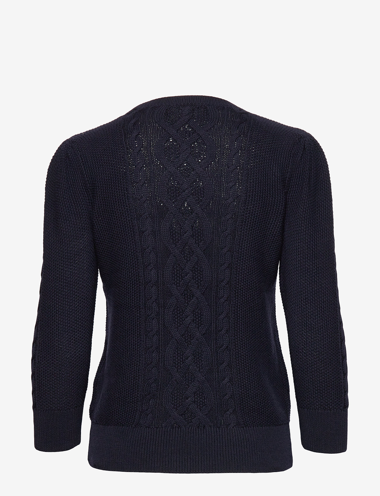 Lauren Ralph Lauren Puff-Sleeve Cable Sweater - Strikkevarer LAUREN NAVY - Dameklær Spesialtilbud