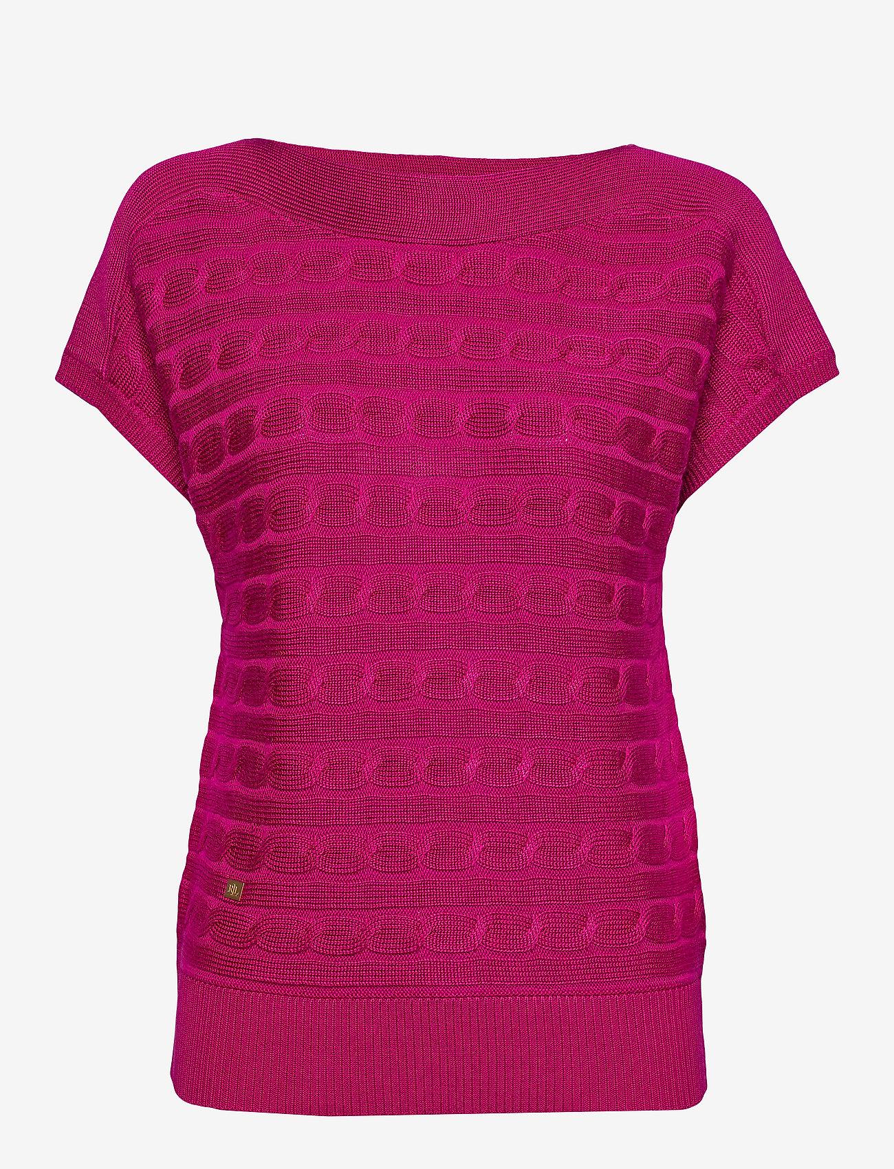 Lauren Ralph Lauren - Cable-Knit Boatneck Sweater - strikkede topper og t-skjorter - bright fuchsia - 0