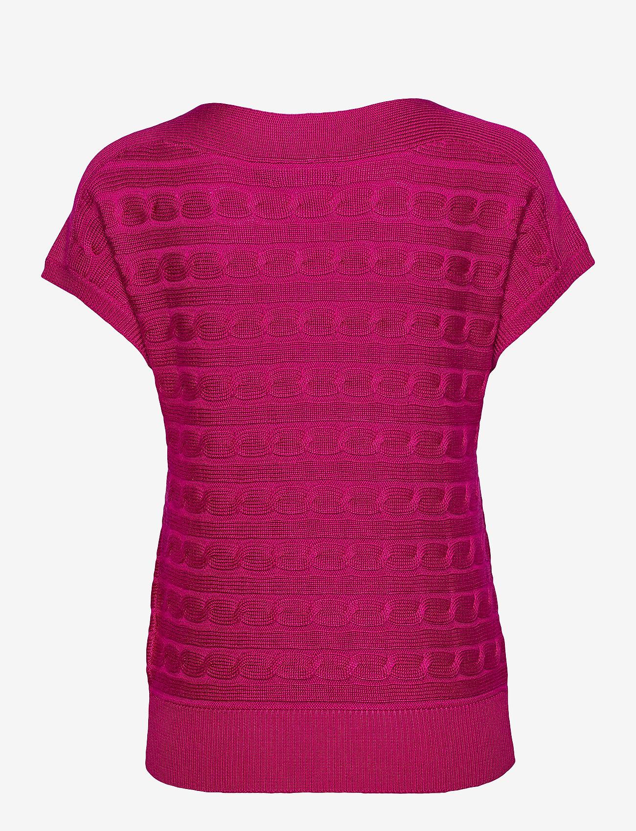 Lauren Ralph Lauren - Cable-Knit Boatneck Sweater - strikkede topper og t-skjorter - bright fuchsia - 1
