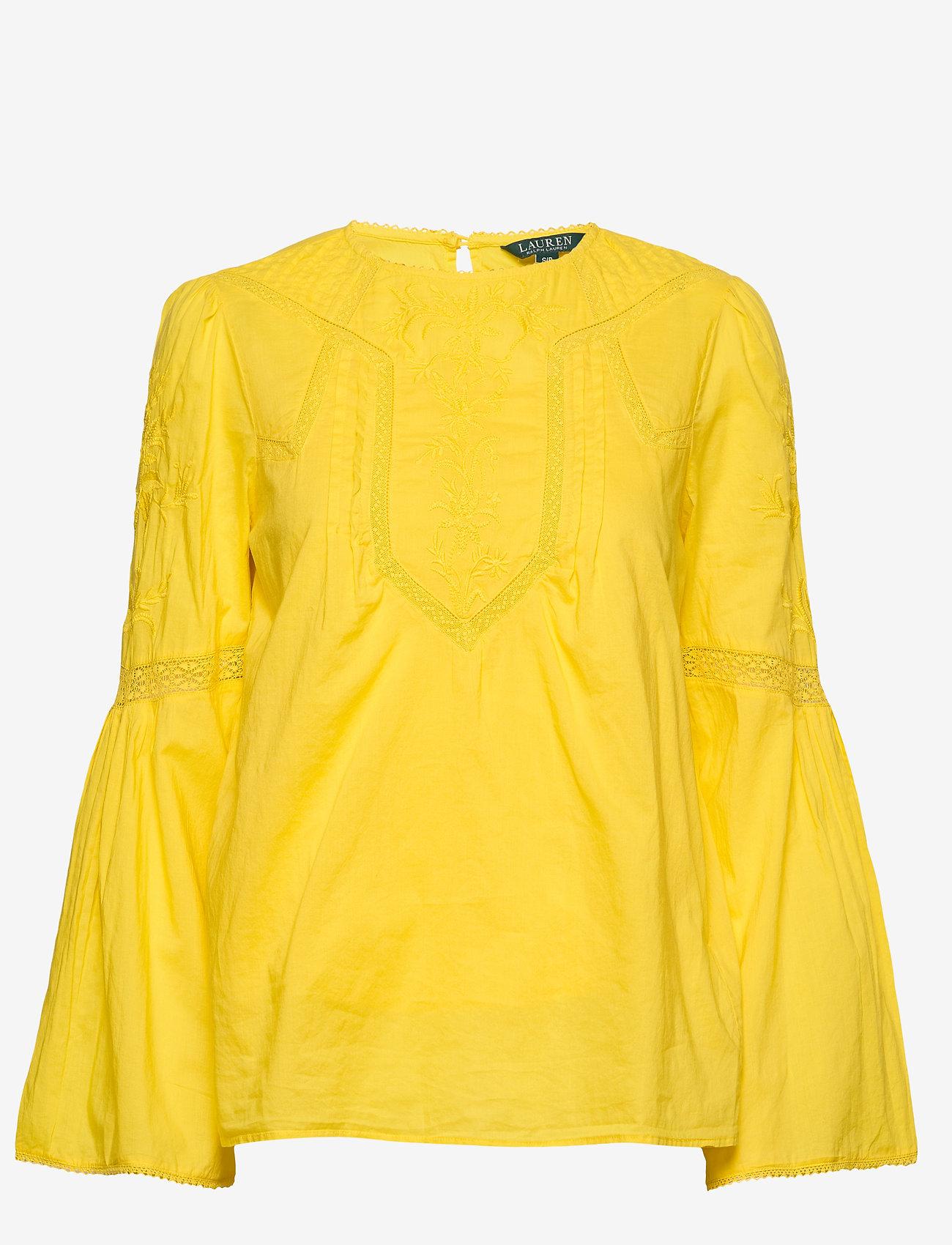 Lauren Ralph Lauren - Embroidered Bell-Sleeve Top - langærmede bluser - dandelion fields - 0