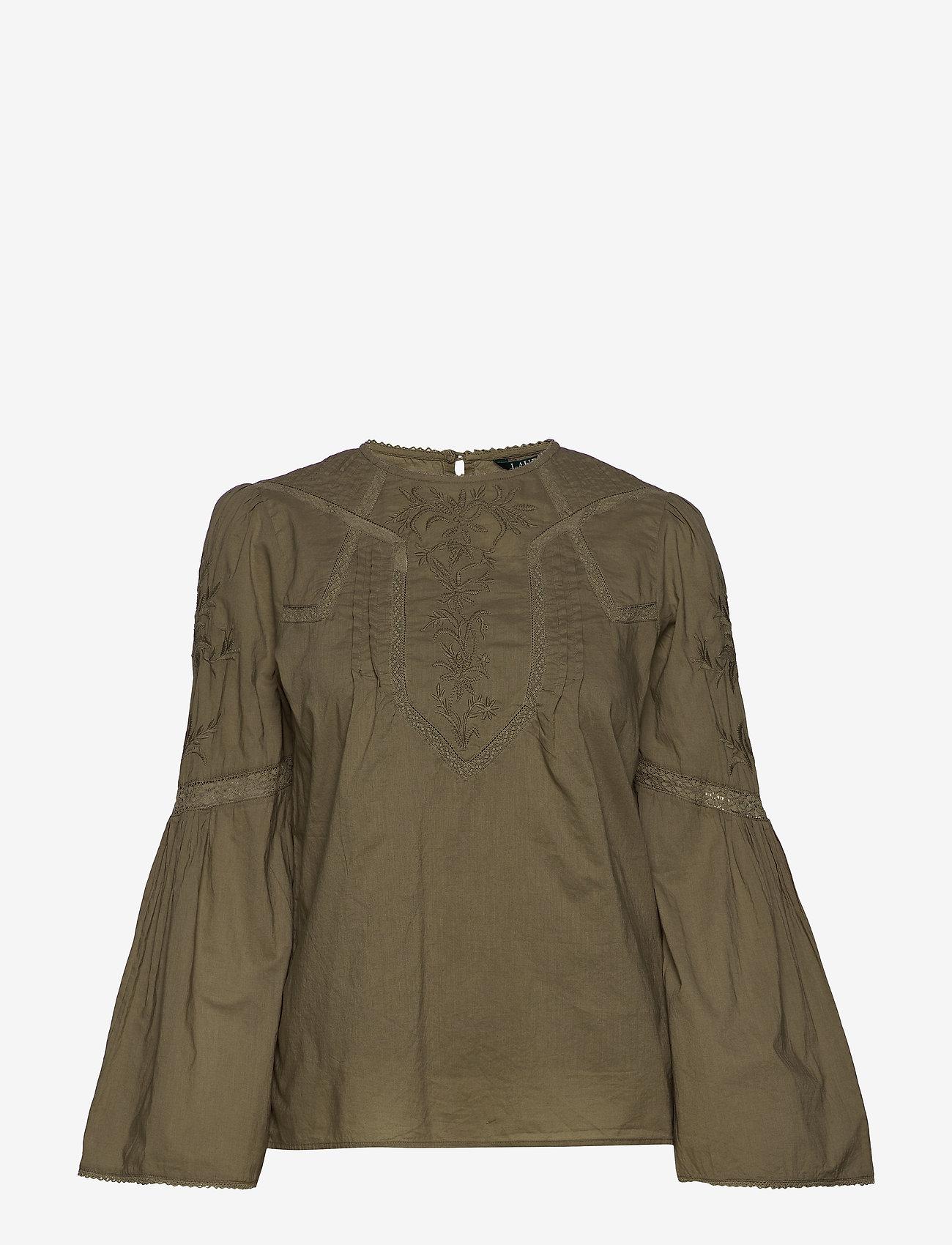 Lauren Ralph Lauren - Embroidered Bell-Sleeve Top - langærmede bluser - dry olive - 0