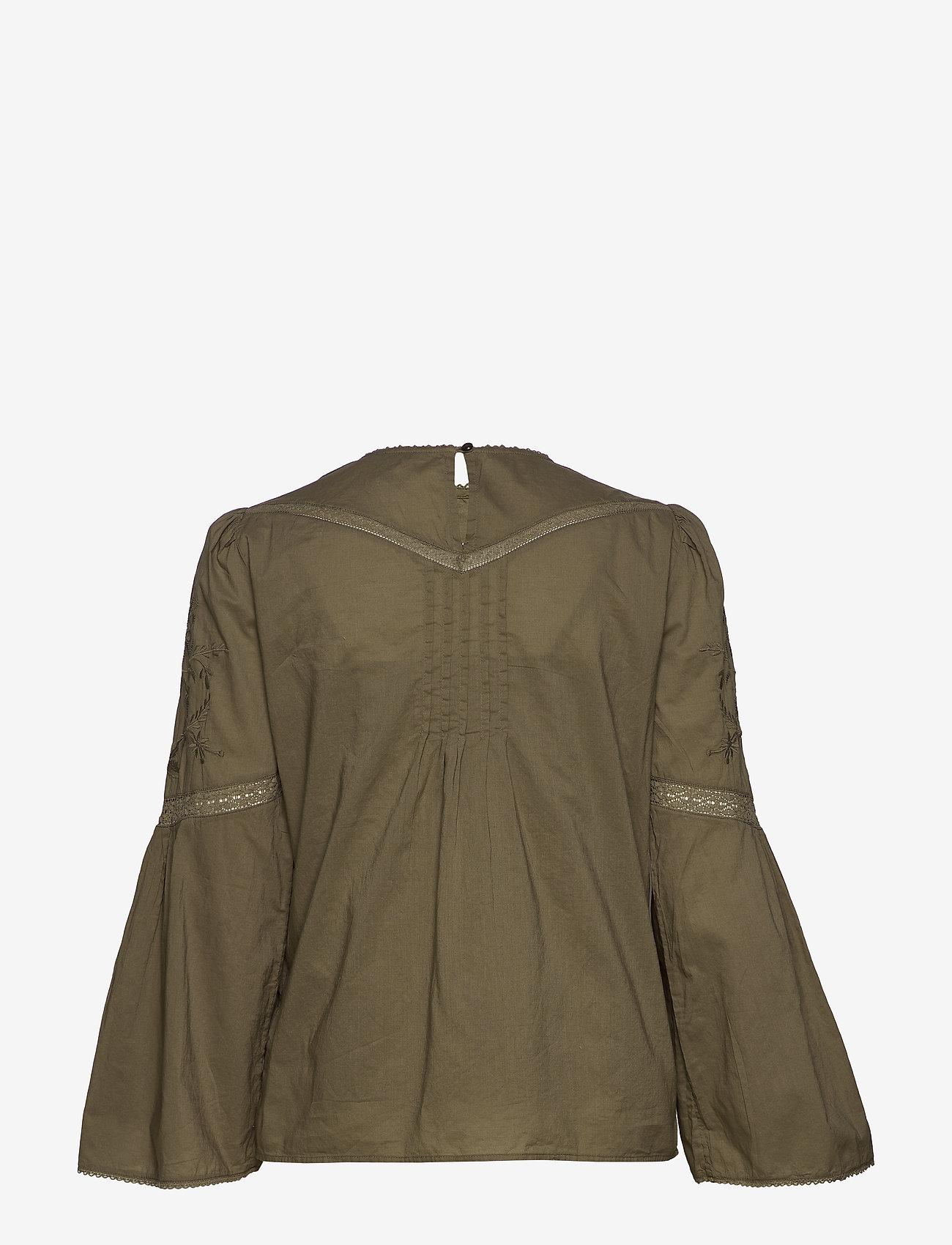 Lauren Ralph Lauren - Embroidered Bell-Sleeve Top - langærmede bluser - dry olive - 1