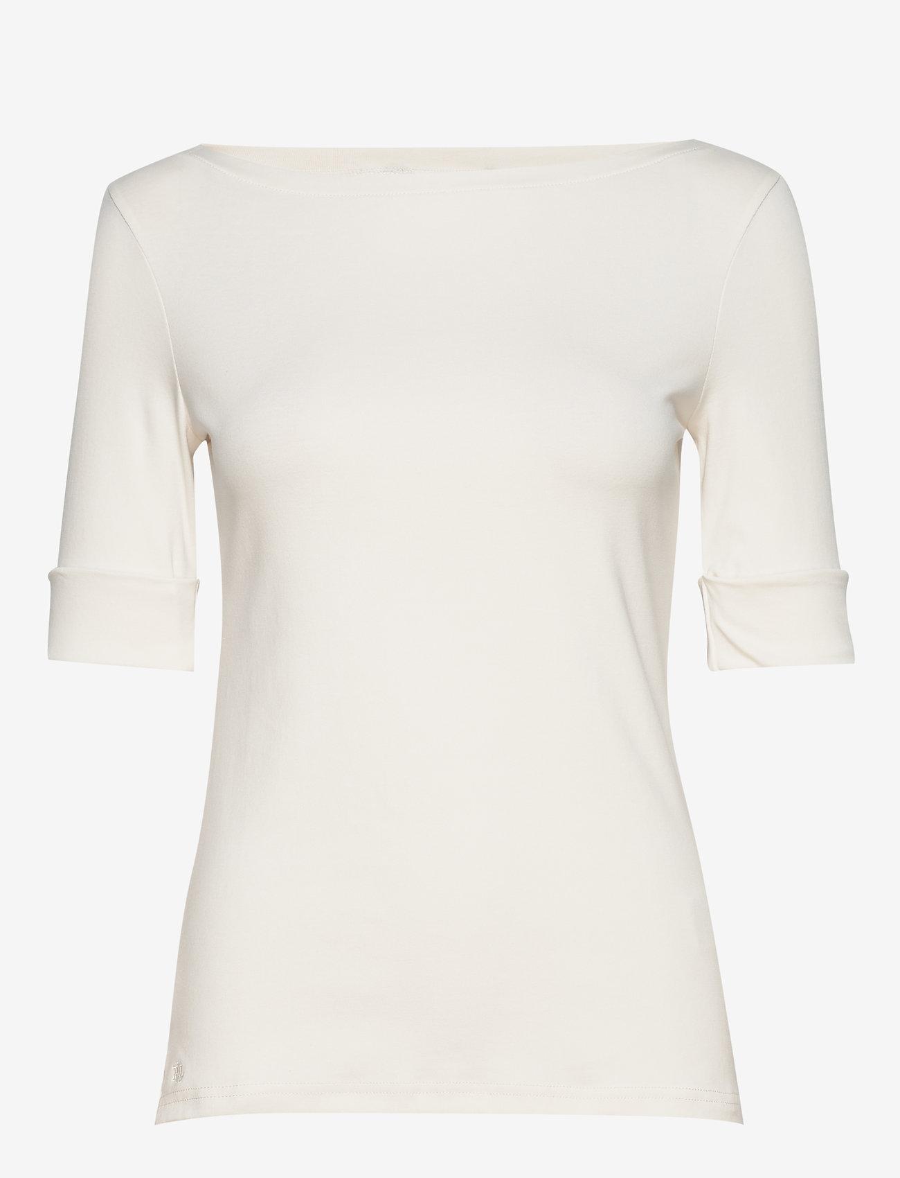 Lauren Ralph Lauren - Cotton-Blend Boatneck Top - t-shirts - mascarpone cream - 0