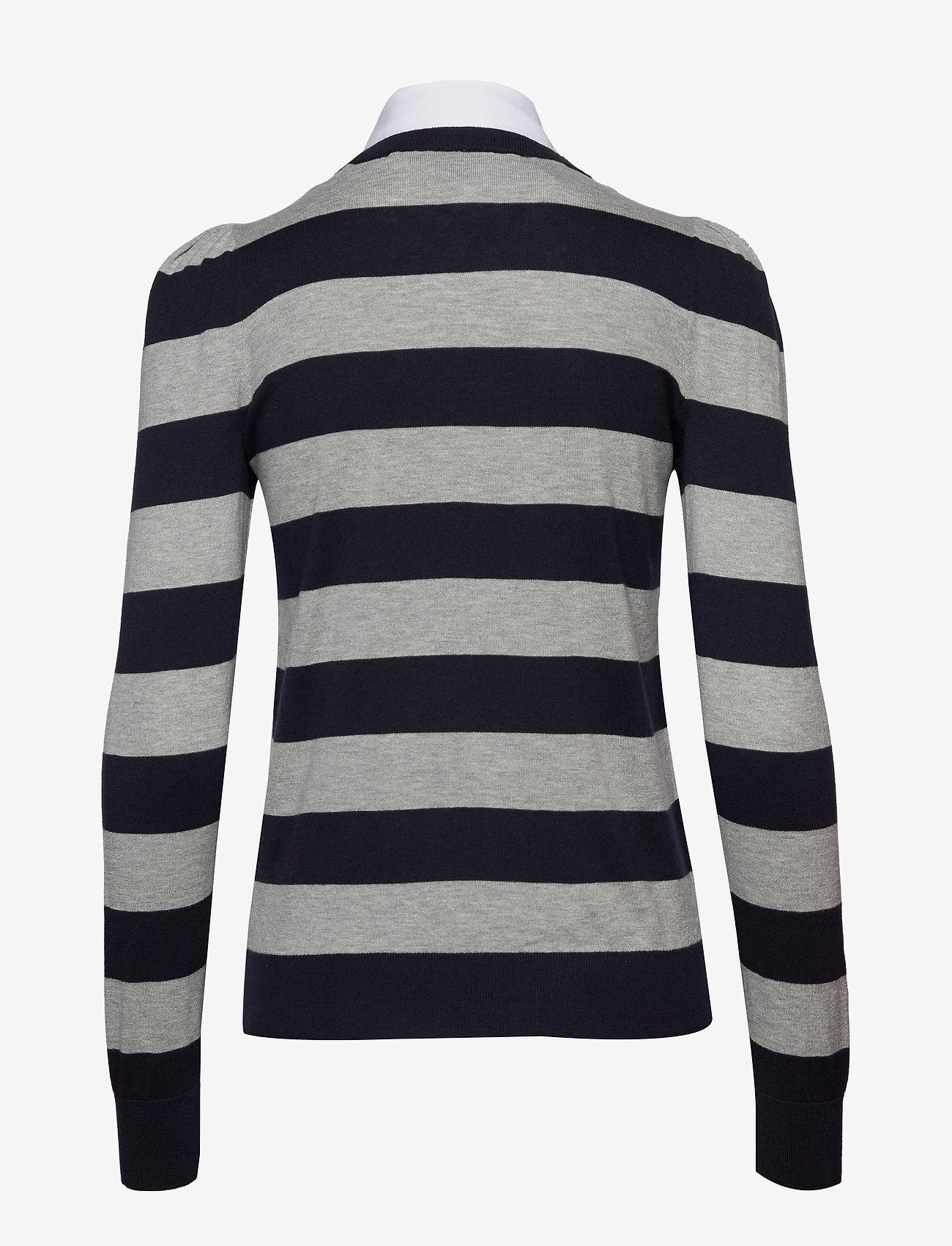 Collared Cotton Sweater (Lauren Navy/pearl) - Lauren Ralph Lauren kvOIJa