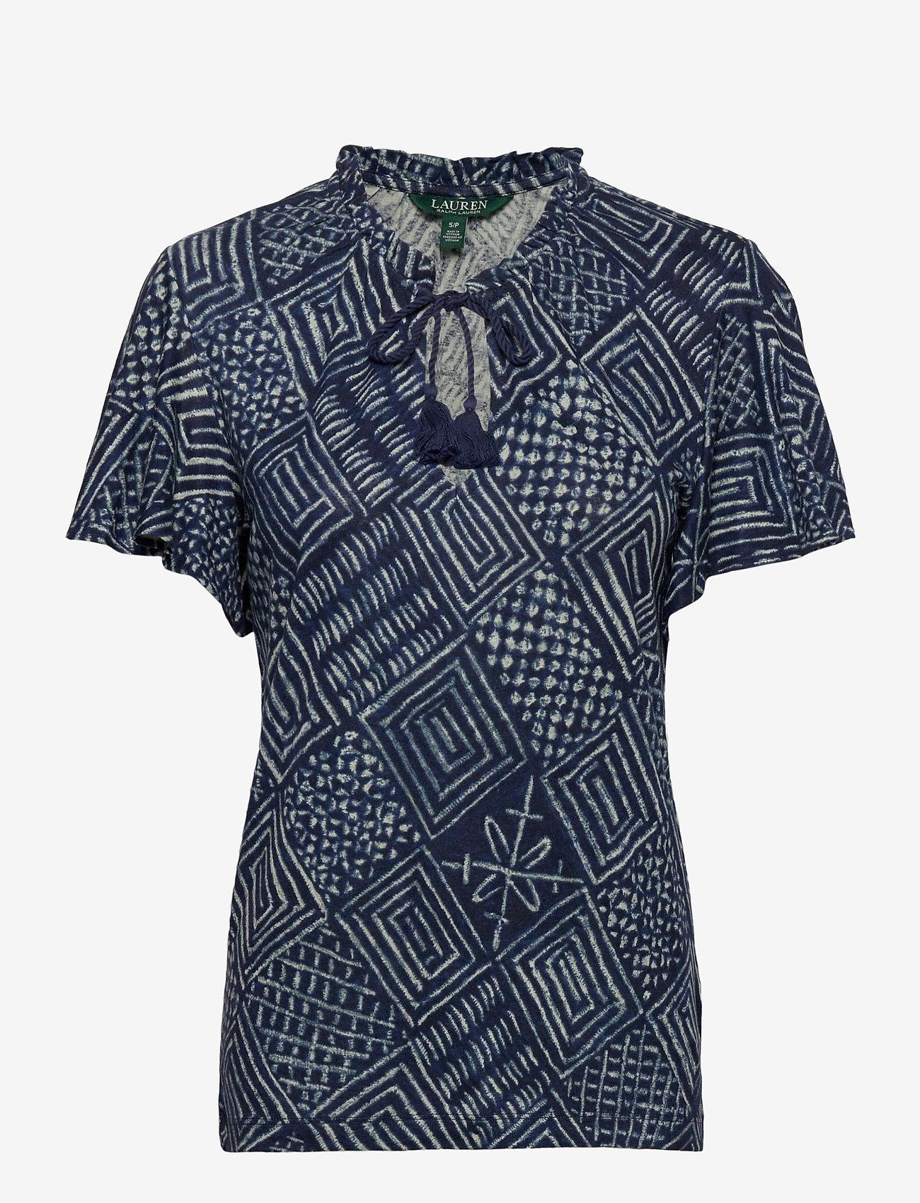 Lauren Ralph Lauren - Print Linen-Blend Tie-Neck Top - kortermede bluser - dk blue multi - 1