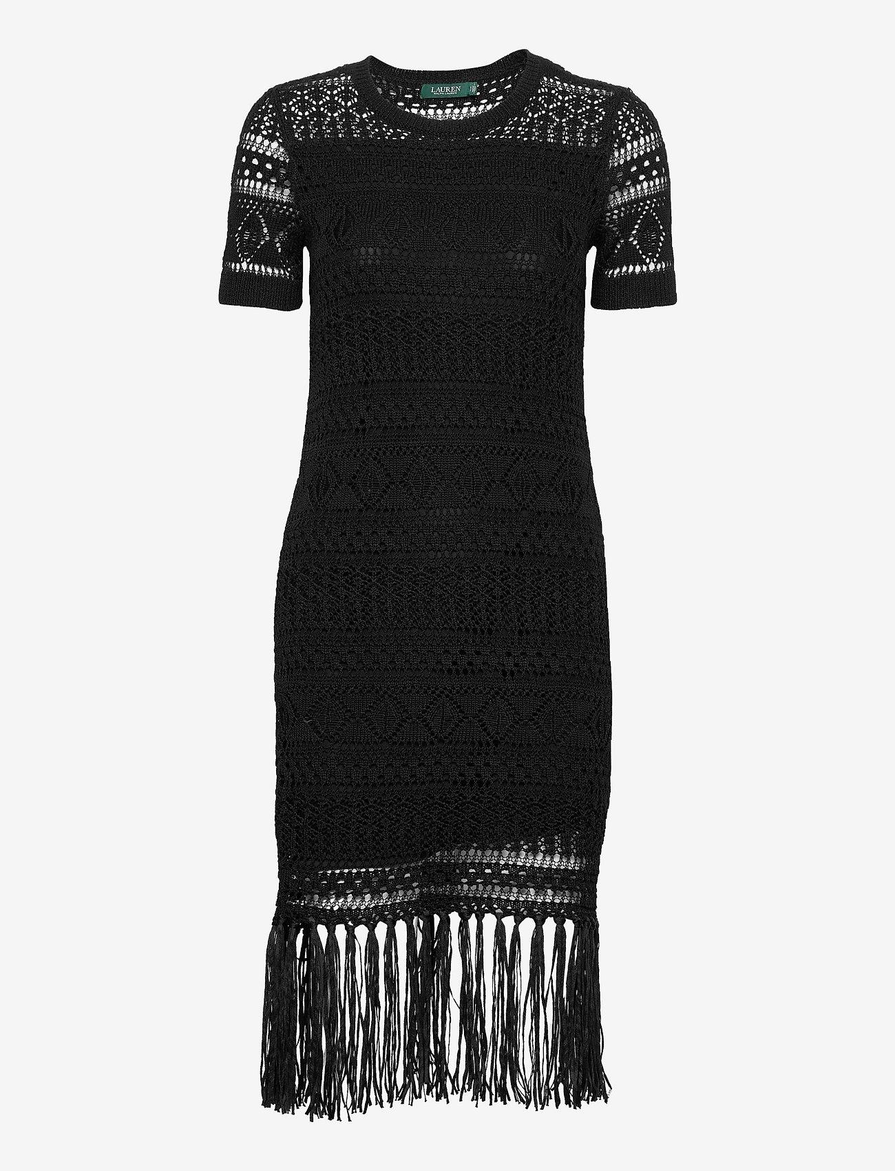 Lauren Ralph Lauren - Pointelle Short-Sleeve Dress - midi kjoler - polo black - 1
