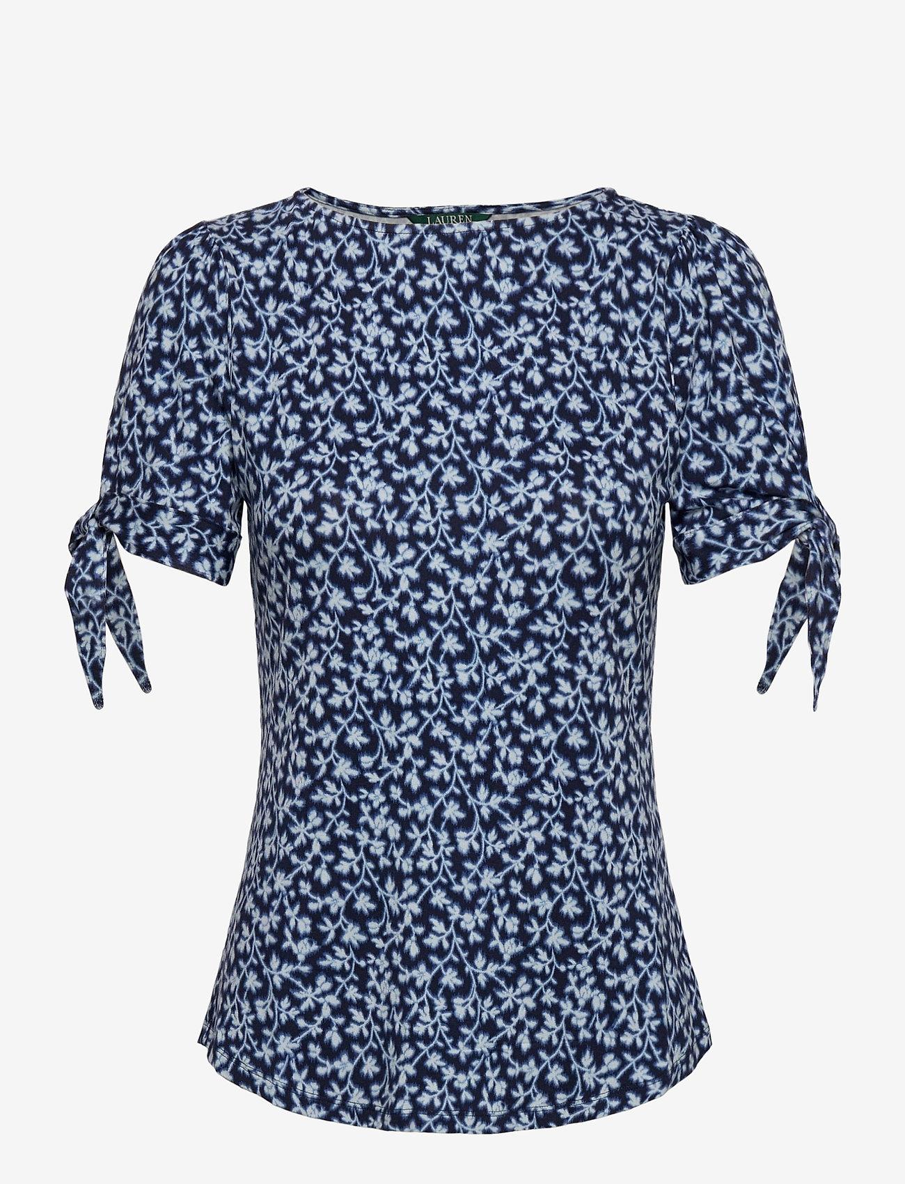 Lauren Ralph Lauren - Floral Jersey Puff-Sleeve Top - t-shirts - dk blue multi - 1